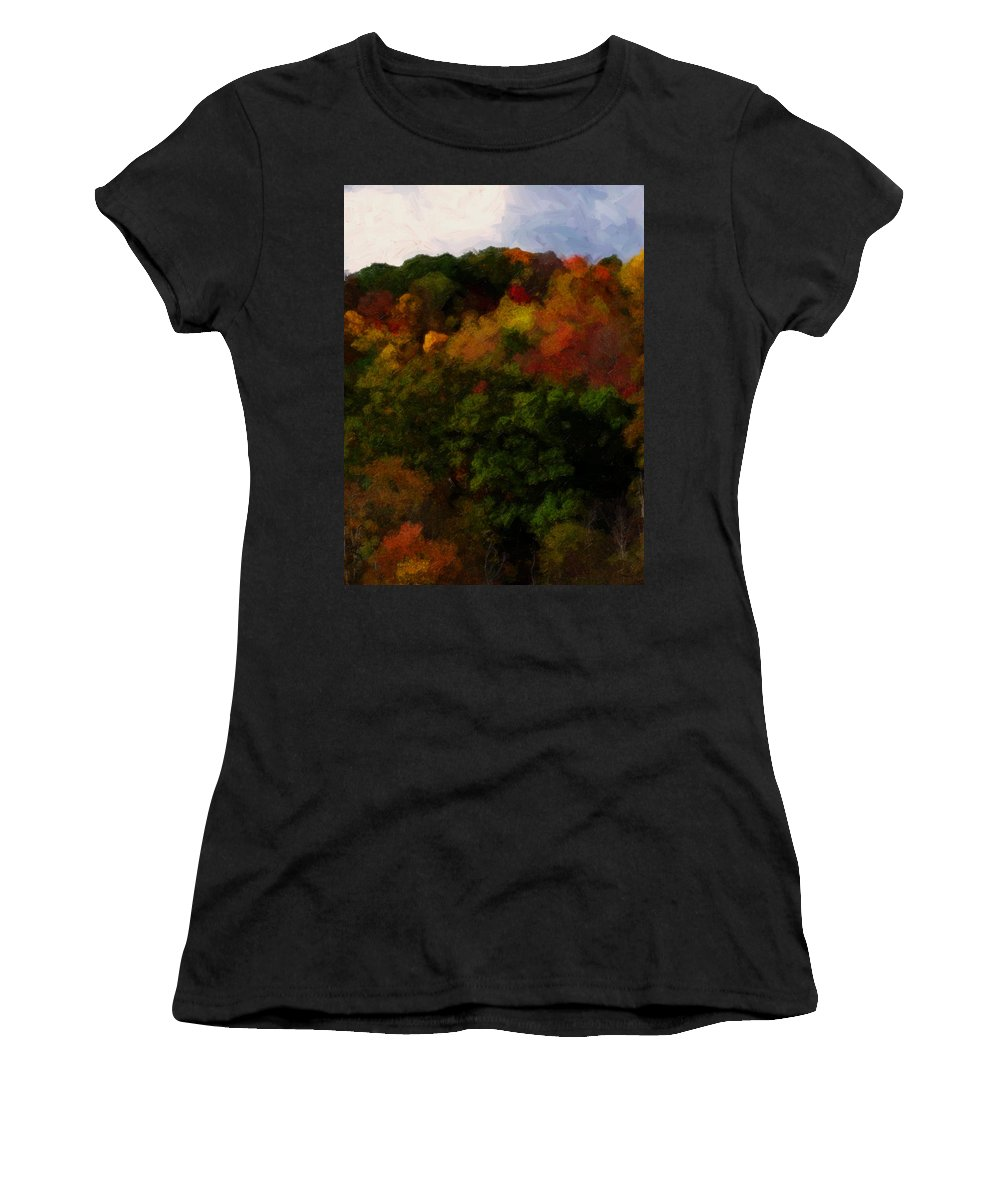 Fall Women's T-Shirt featuring the painting Hint Of Fall Color Painting by Teresa Mucha