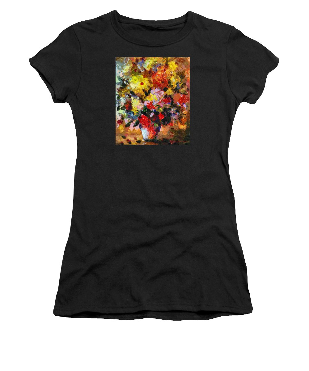 Abstract Women's T-Shirt (Athletic Fit) featuring the mixed media Hint Of Klimt by Georgiana Romanovna
