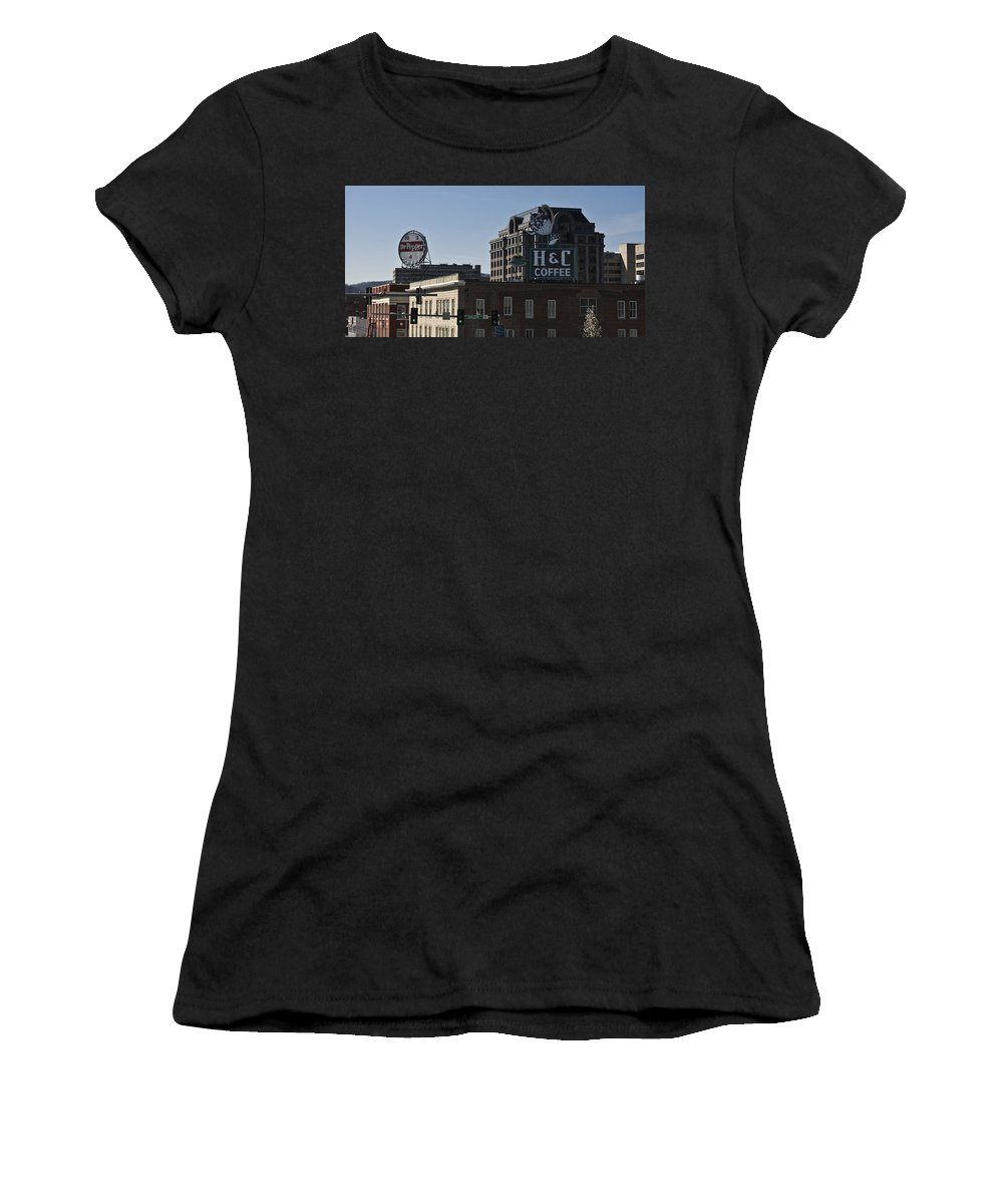 Roanoke Women's T-Shirt (Athletic Fit) featuring the photograph Historic Landmark Signs Roanoke Virginia by Teresa Mucha