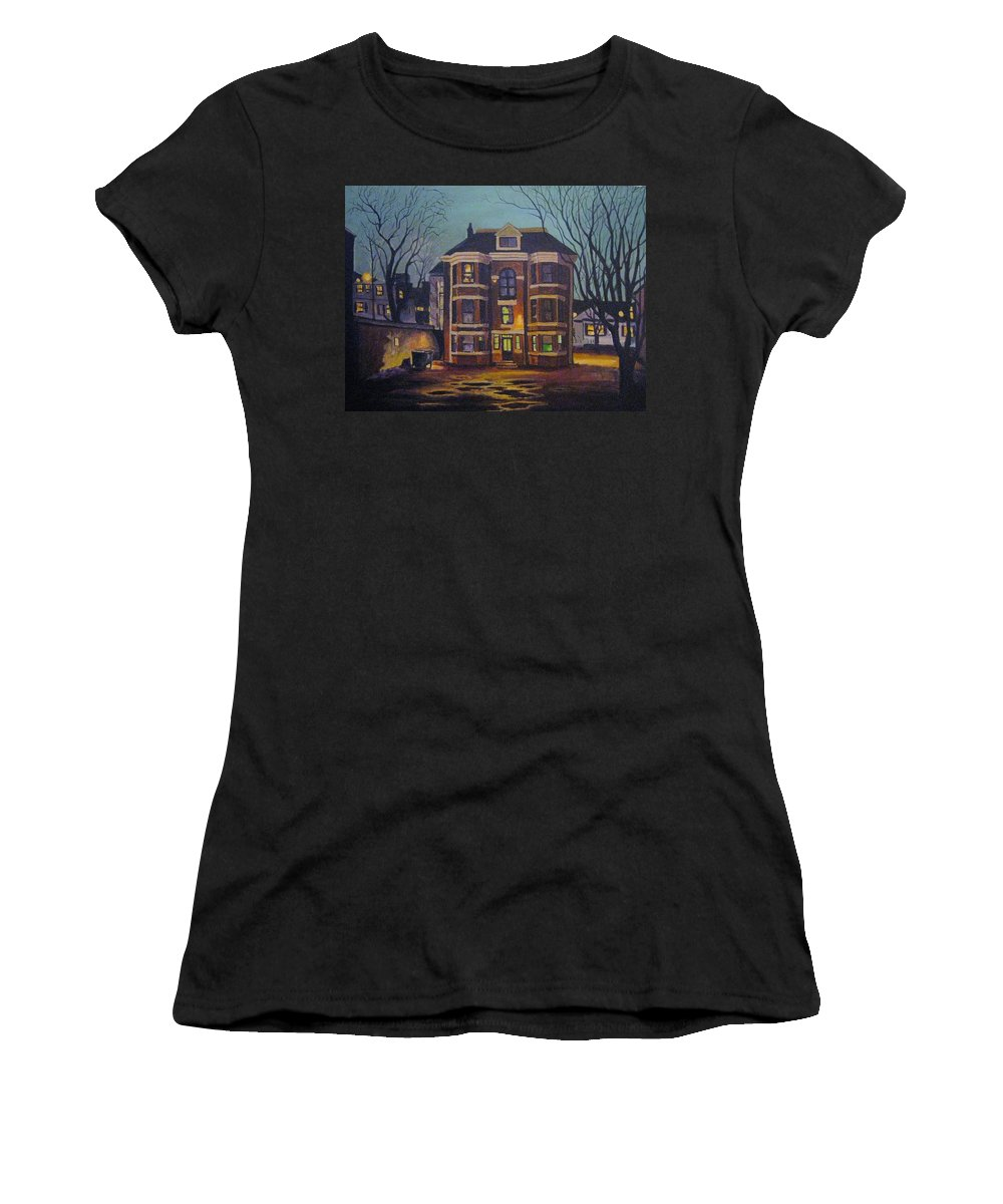 Moody Women's T-Shirt (Athletic Fit) featuring the painting Historic Property South End Haifax by John Malone