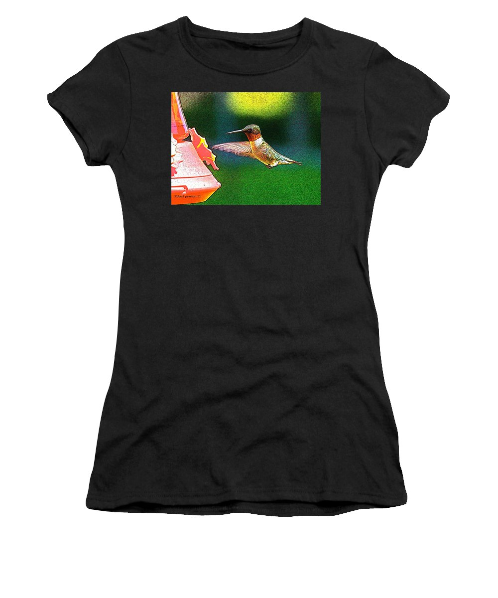 Humming Bird Women's T-Shirt (Athletic Fit) featuring the photograph Hmmm by Robert Pearson