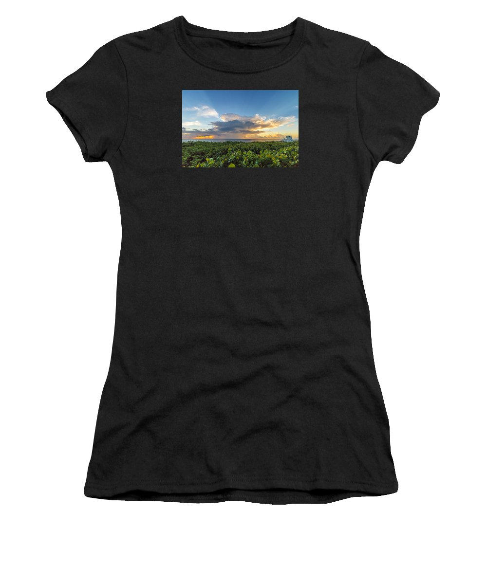 Hobe Sound Women's T-Shirt (Athletic Fit) featuring the photograph Hobe Sound Beach Sunrise by Joshua Powell