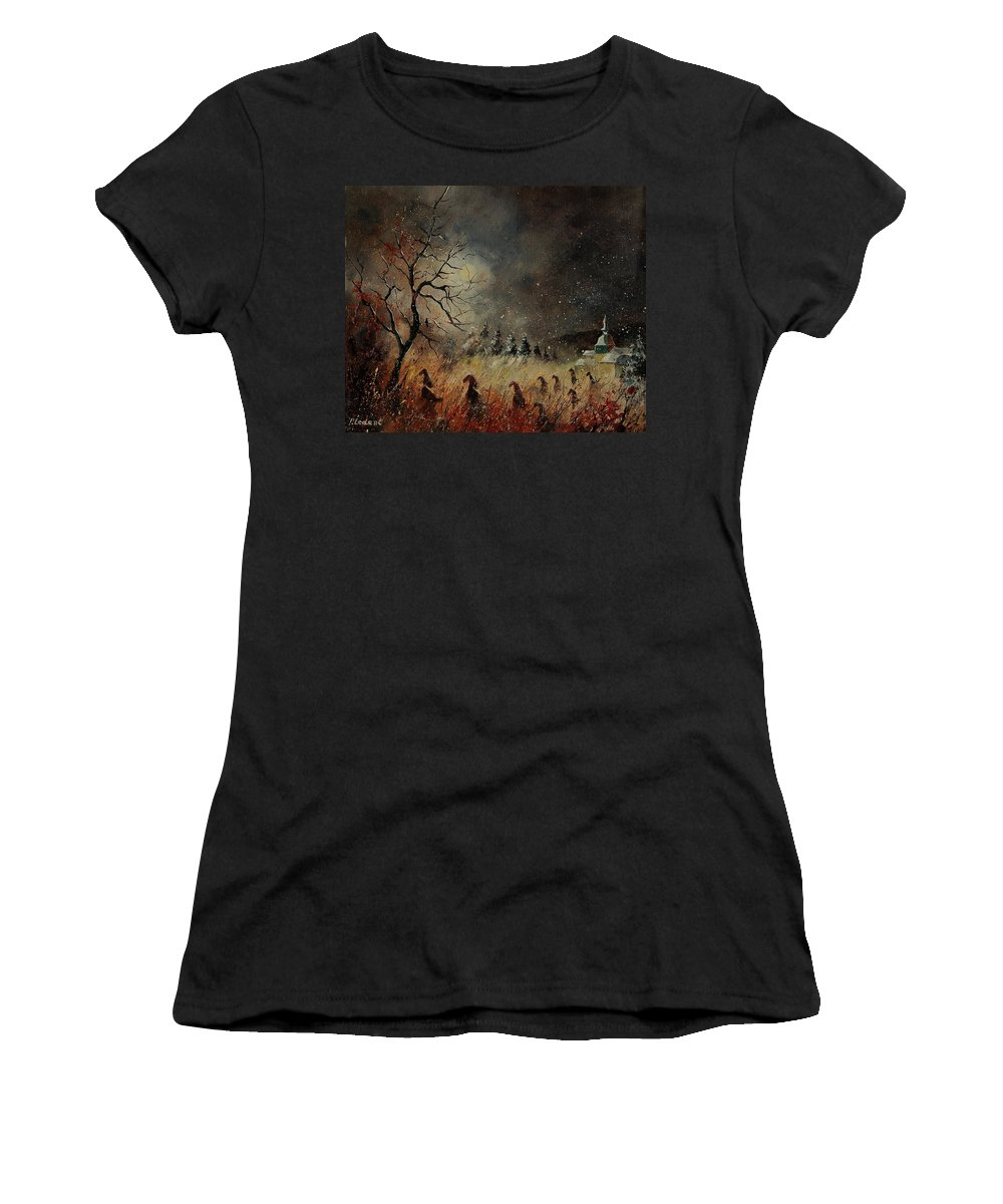 Phantasy Women's T-Shirt (Athletic Fit) featuring the painting Hobglobins At Night by Pol Ledent