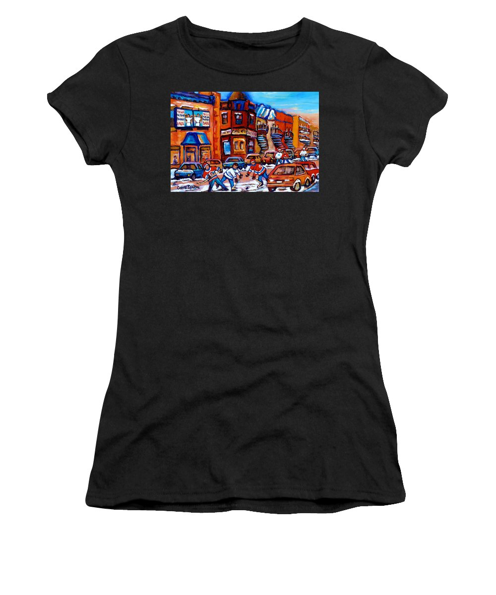 Fairmount Bagel Women's T-Shirt (Athletic Fit) featuring the painting Hockey At Fairmount Bagel by Carole Spandau