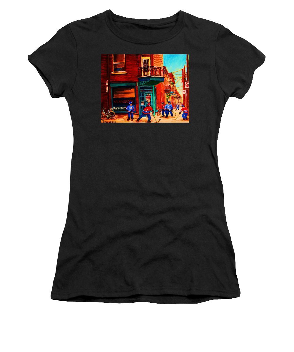 Wilenskys Women's T-Shirt (Athletic Fit) featuring the painting Hockey At Wilenskys Corner by Carole Spandau