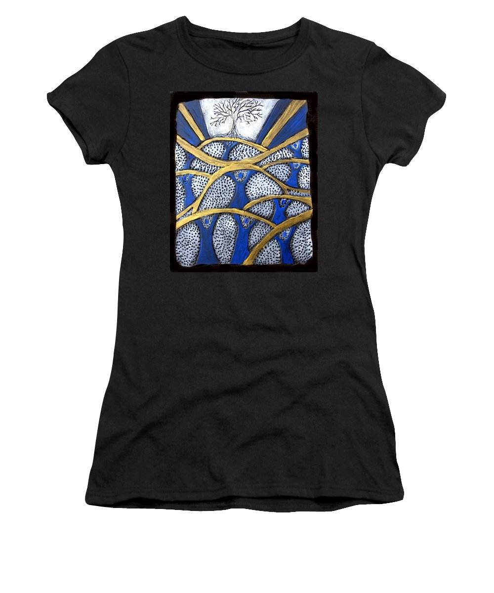 Tree Women's T-Shirt (Athletic Fit) featuring the painting Holding Up The Family Tree by Wayne Potrafka