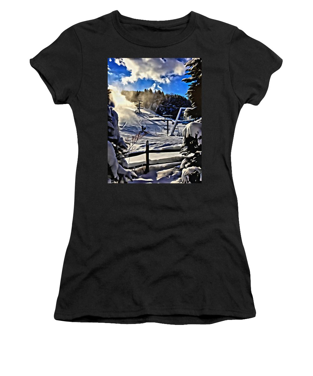 Ellicottville Women's T-Shirt (Athletic Fit) featuring the photograph Holimont Slopes by Gregory Spako