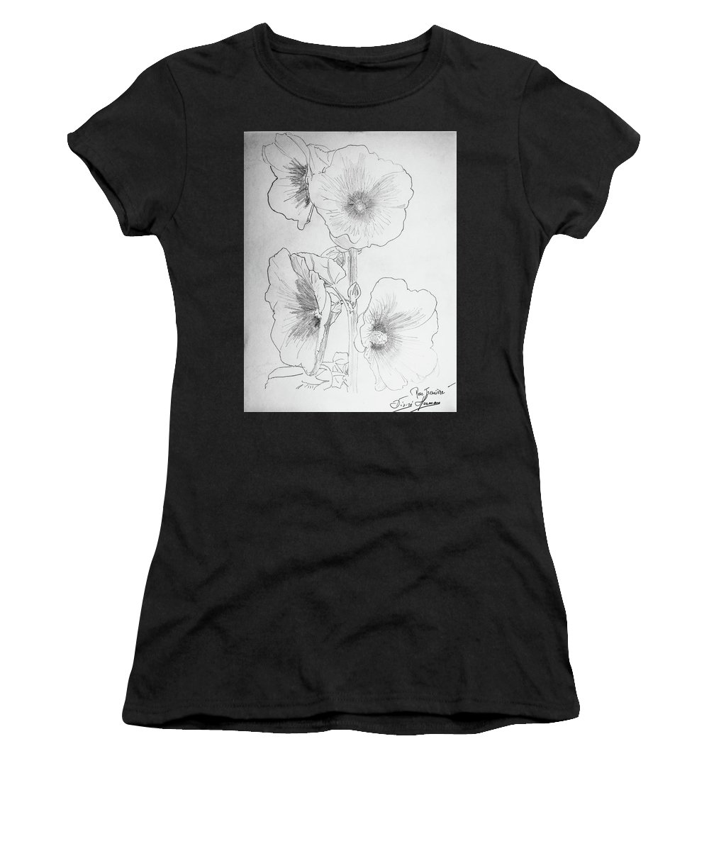 Hollyhock Women's T-Shirt (Athletic Fit) featuring the drawing Hollyhocks by George Desire Herman