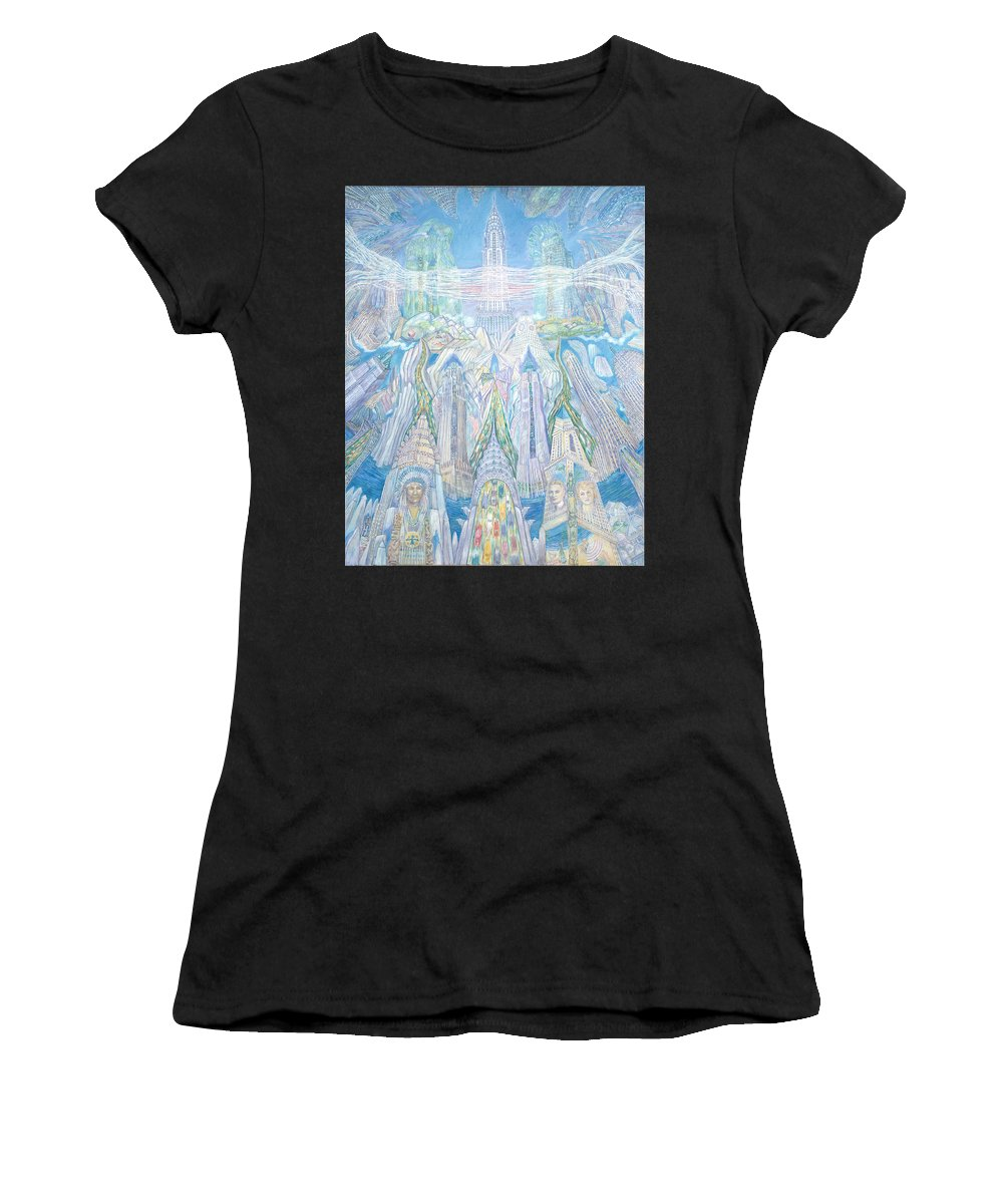 New York Cityscape Women's T-Shirt (Athletic Fit) featuring the painting Homage To New York And The Chrysler Building by Patricia Buckley