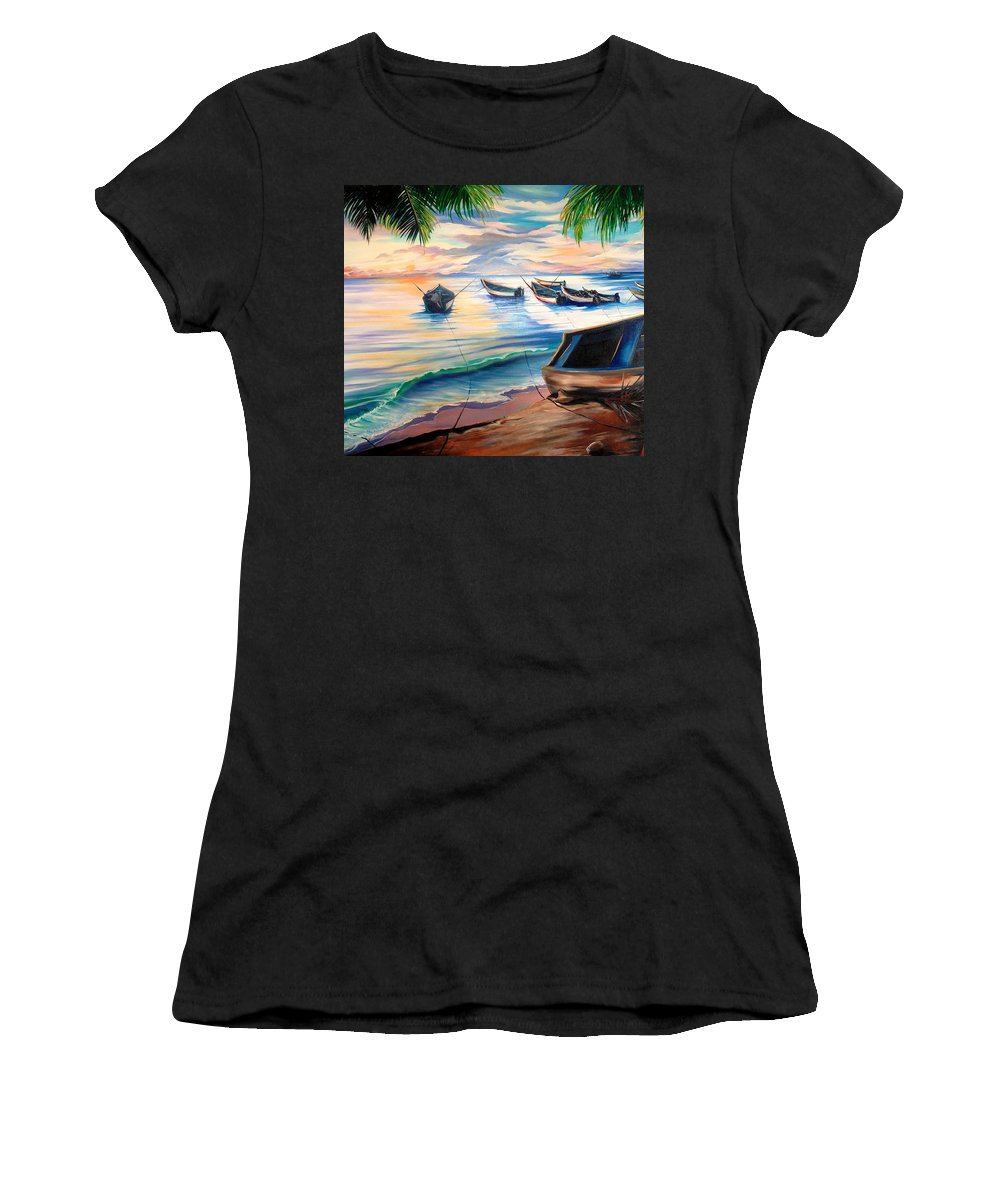 Ocean Painting Caribbean Painting Seascape Painting Beach Painting Fishing Boats Painting Sunset Painting Blue Palm Trees Fisherman Trinidad And Tobago Painting Tropical Painting Women's T-Shirt featuring the painting Home From The Sea by Karin Dawn Kelshall- Best