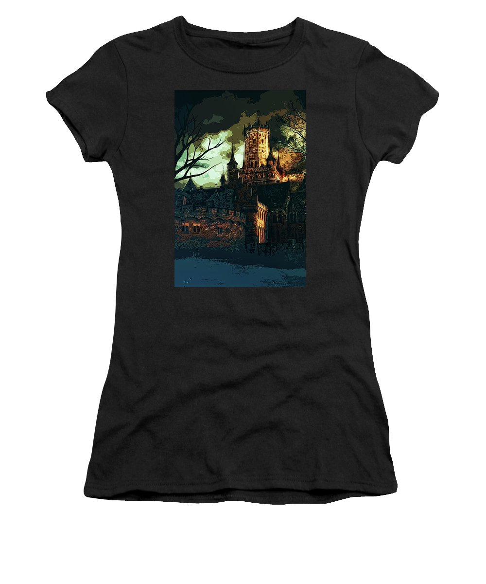 Home Of Darkness Women's T-Shirt featuring the painting Home Of Darkness by Andrea Mazzocchetti