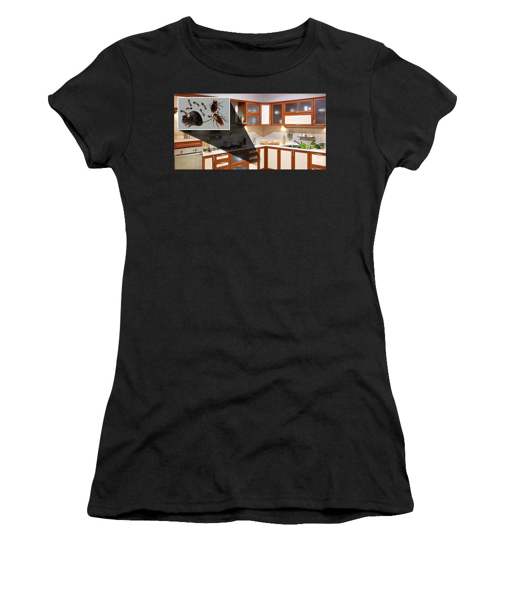 Home Pest Control Service Women's T-Shirt (Athletic Fit) featuring the relief Home Pest Control Service by Charles Clayton