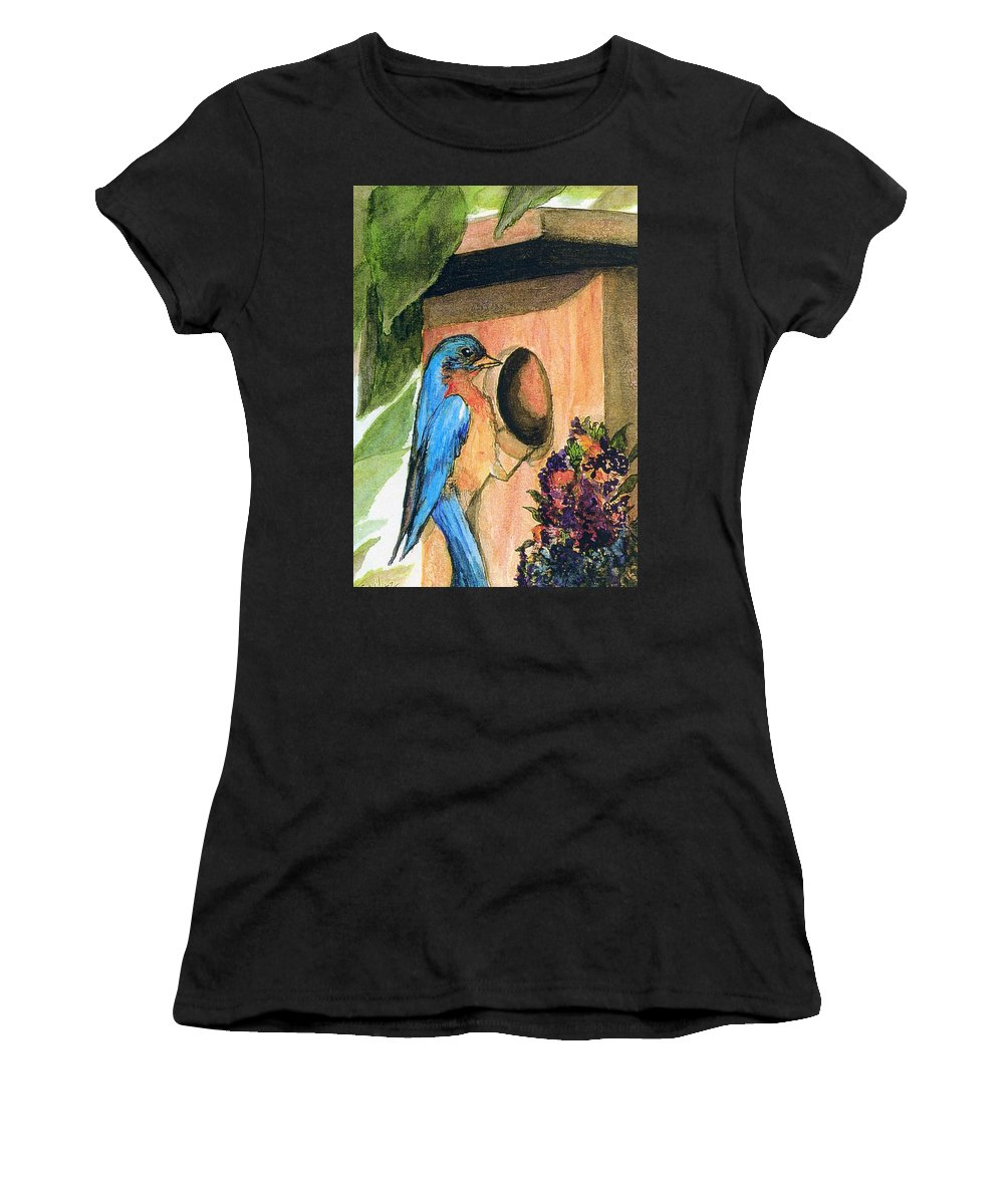 Bluebirds Women's T-Shirt (Athletic Fit) featuring the painting Home Sweet Home by Gail Kirtz