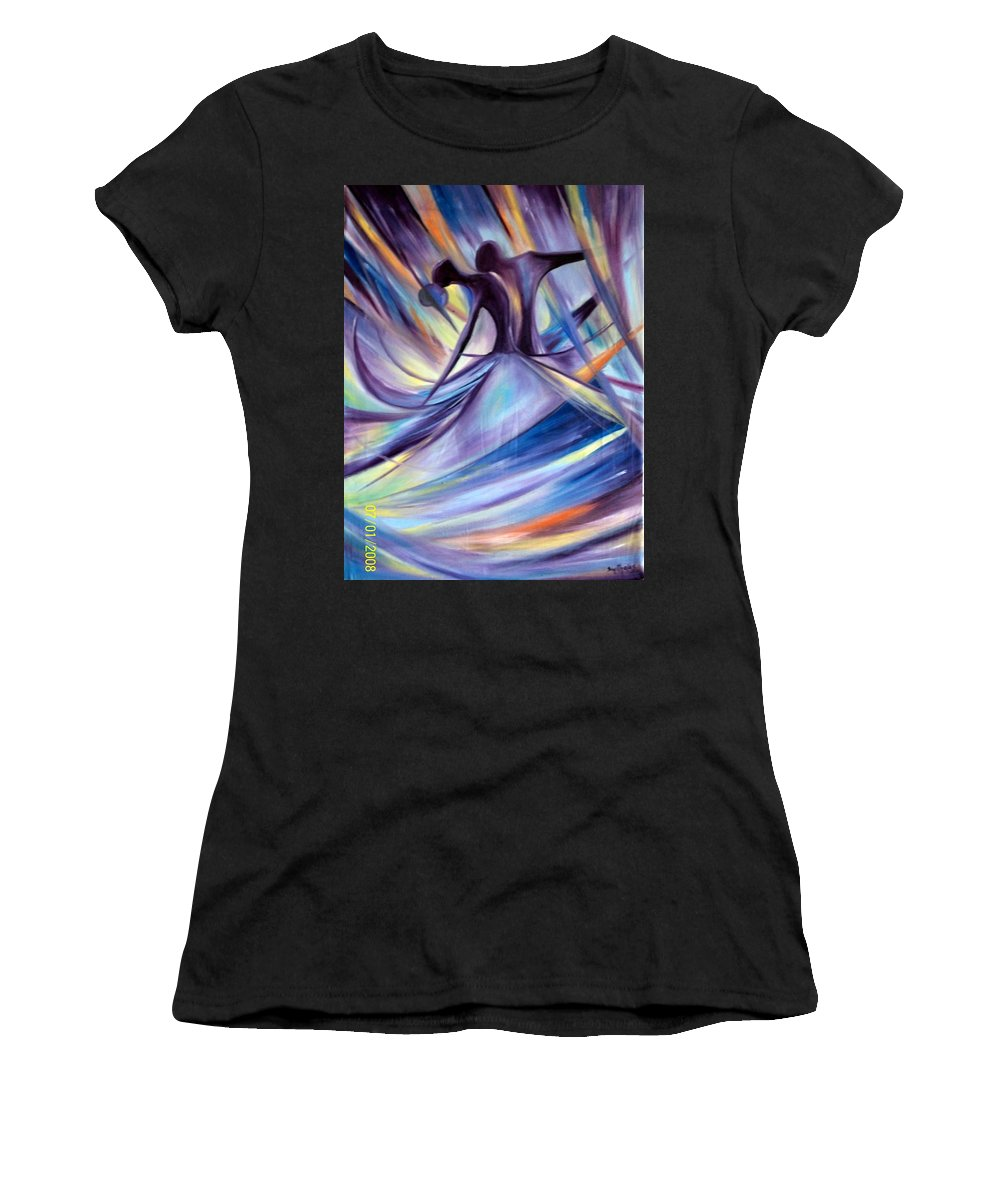 Chic Women's T-Shirt (Athletic Fit) featuring the painting Honeymoon by Olaoluwa Smith
