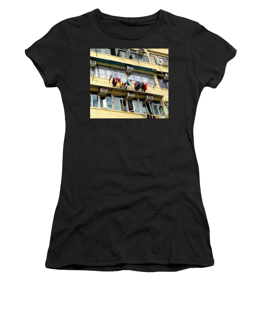 Hong Kong Women's T-Shirt (Athletic Fit) featuring the photograph Hong Kong Apartment 7 by Randall Weidner