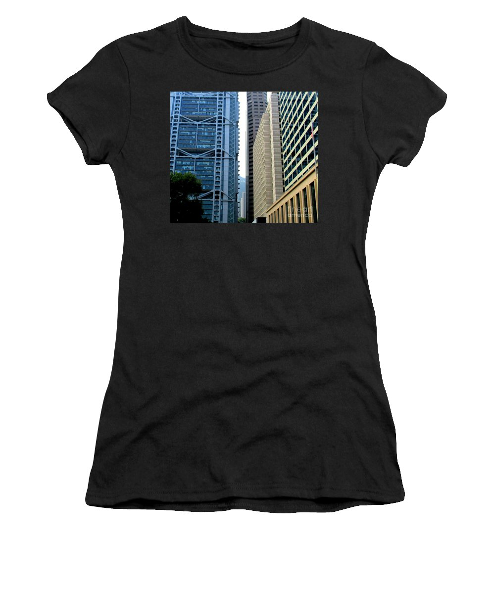 Hong Kong Women's T-Shirt (Athletic Fit) featuring the photograph Hong Kong Architecture 49 by Randall Weidner