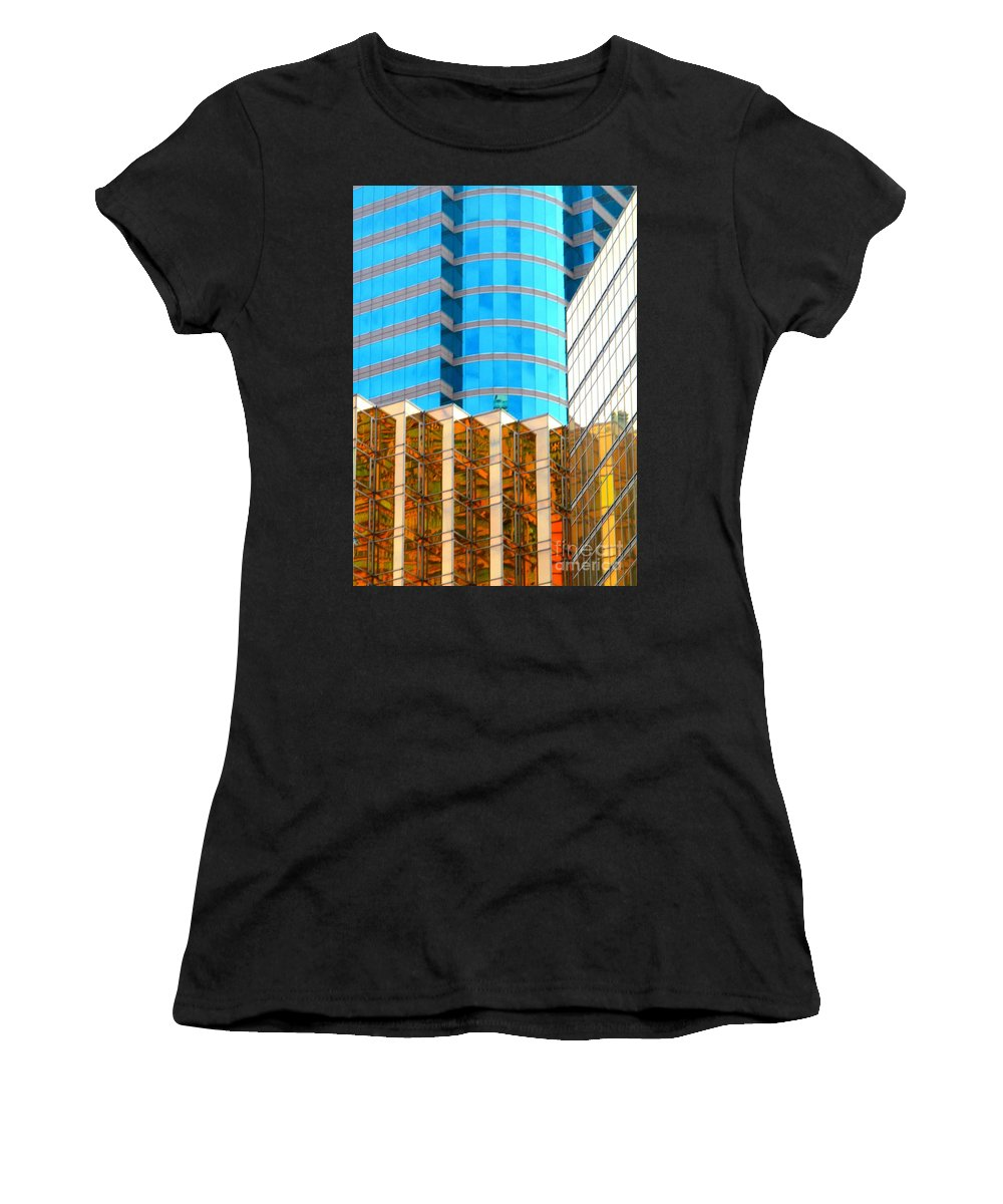 Hong Kong Women's T-Shirt (Athletic Fit) featuring the photograph Hong Kong Architecture 6 by Randall Weidner