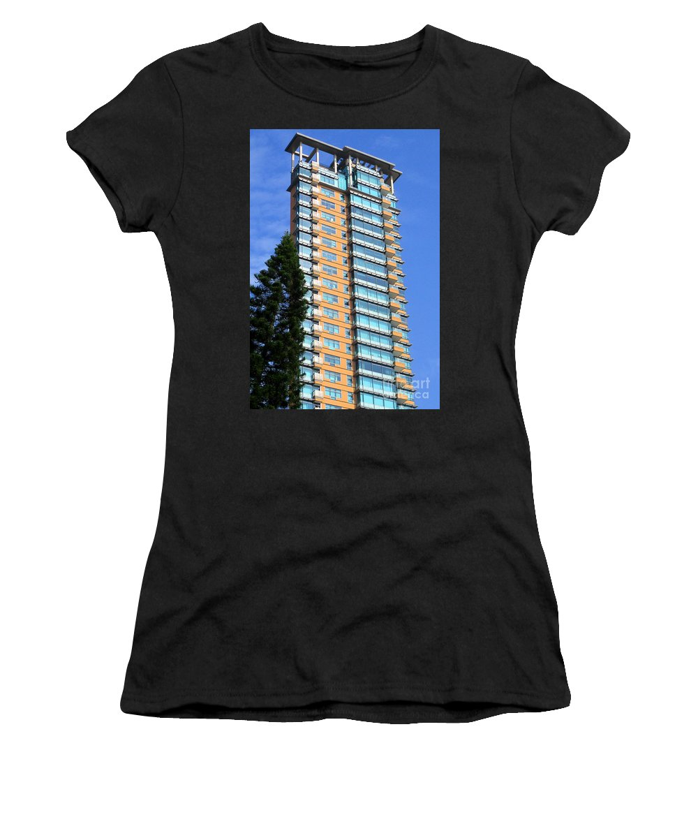Hong Kong Women's T-Shirt (Athletic Fit) featuring the photograph Hong Kong Architecture 77 by Randall Weidner