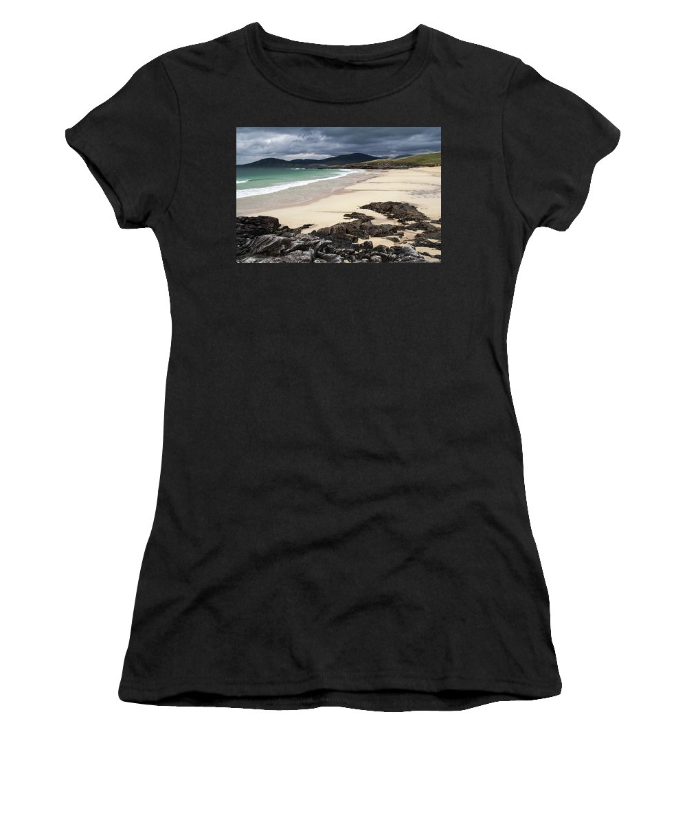 Harris Women's T-Shirt (Athletic Fit) featuring the photograph Horgabost Bay by M M Rainey