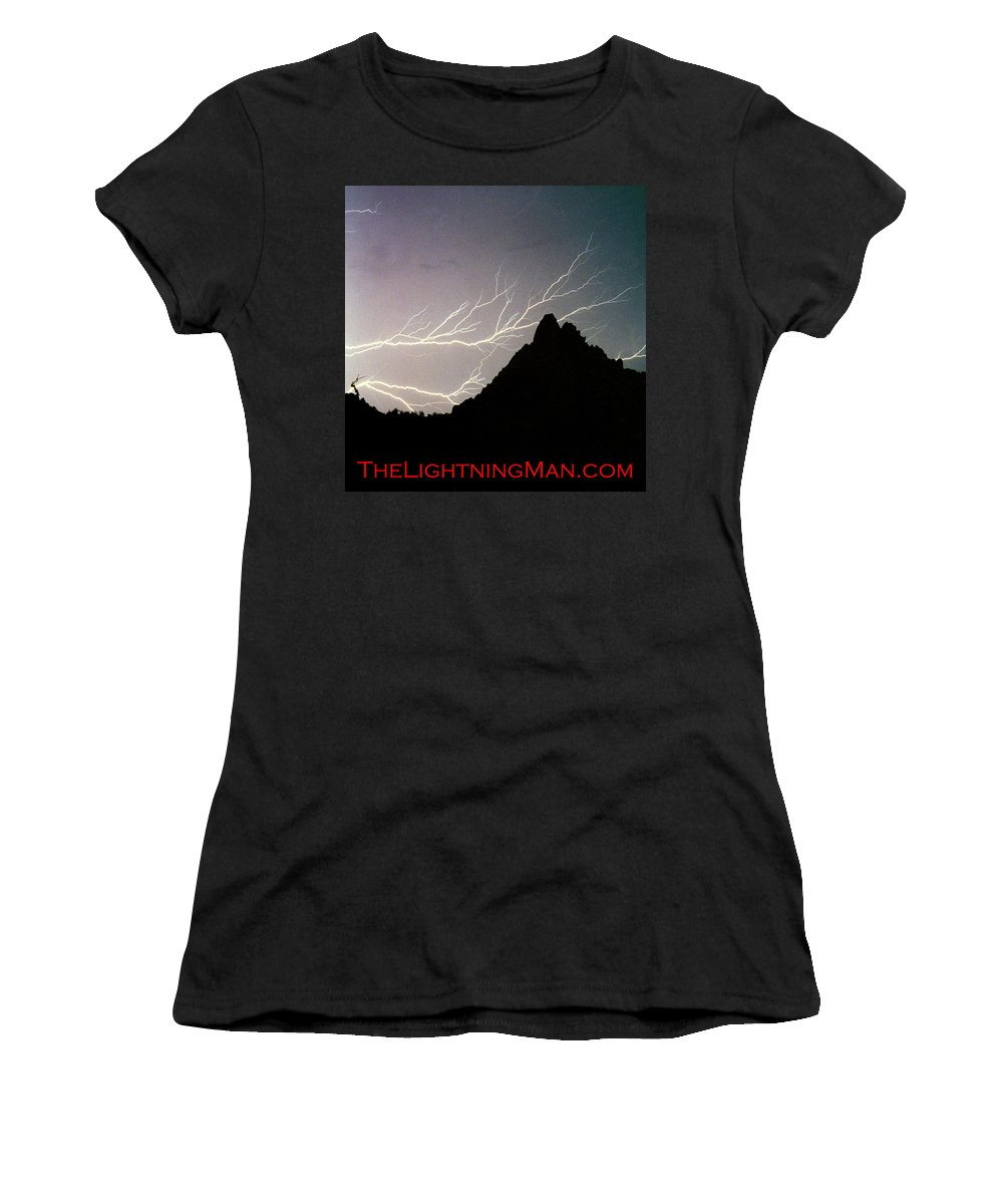 Lightning Women's T-Shirt (Athletic Fit) featuring the photograph Horizonal Lightning Poster by James BO Insogna