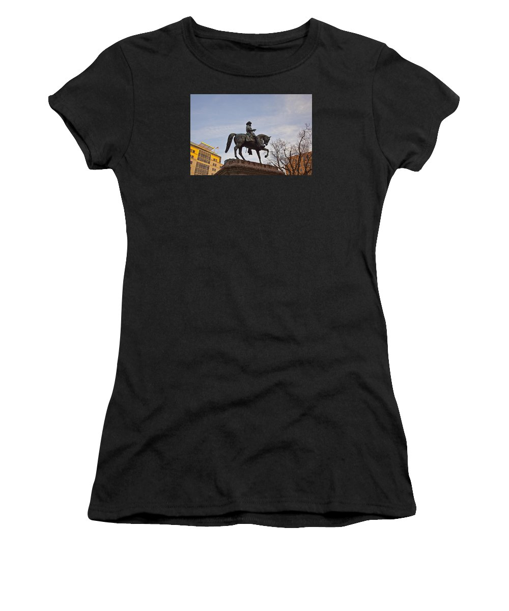 Statue Women's T-Shirt (Athletic Fit) featuring the photograph Horse And Rider Monument by Amy Jackson