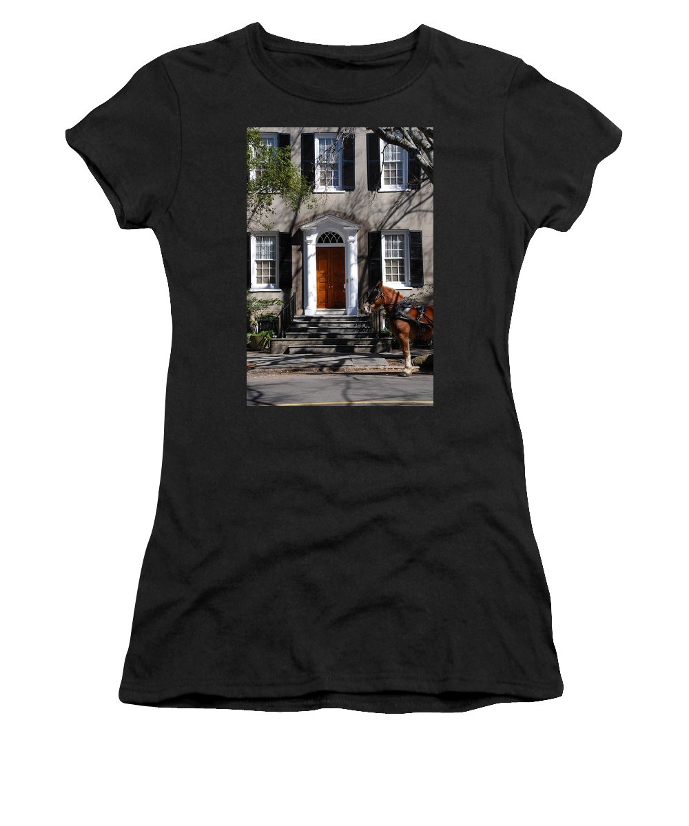 Photography Women's T-Shirt (Athletic Fit) featuring the photograph Horse Carriage In Charleston by Susanne Van Hulst