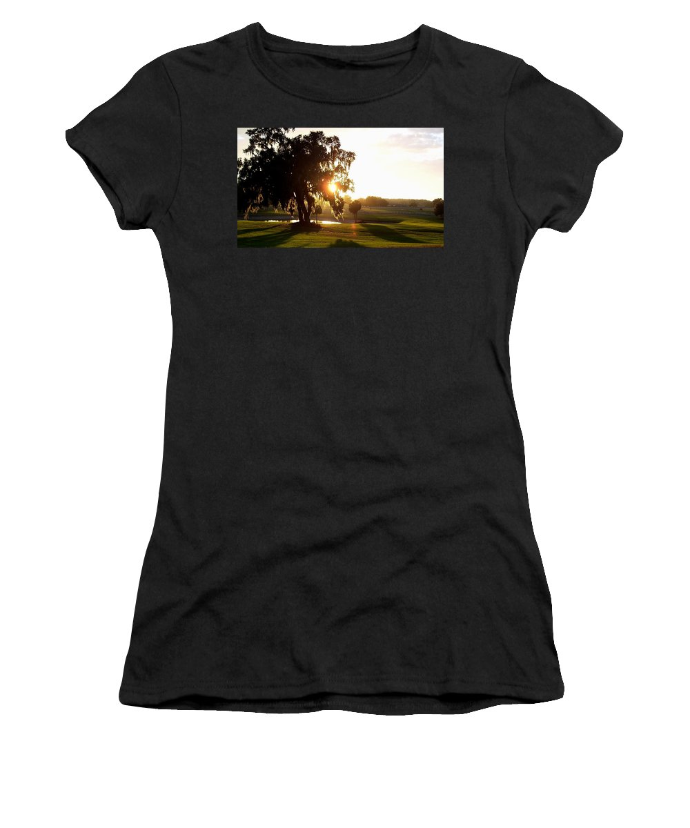Sunset Women's T-Shirt (Athletic Fit) featuring the photograph Horse Country Sunset by Kristen Wesch