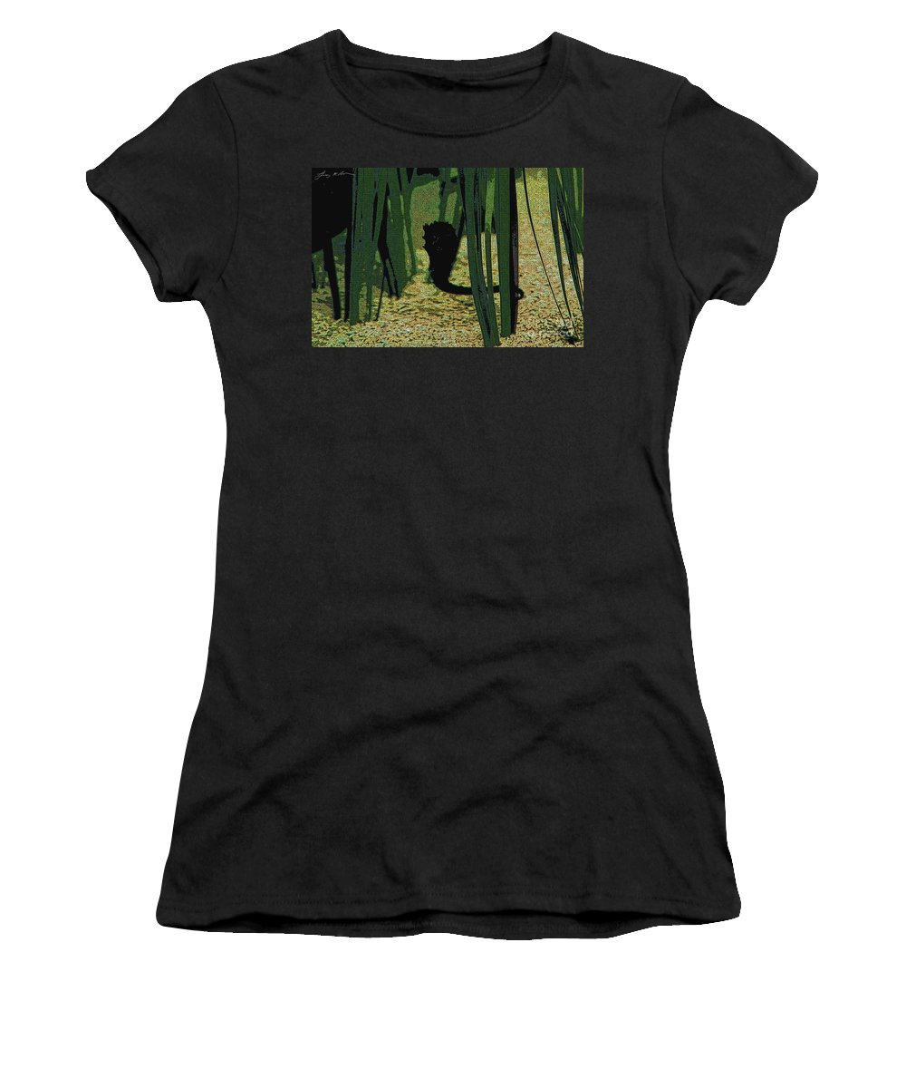 Sea Horse Women's T-Shirt (Athletic Fit) featuring the digital art Horse In The Grass by Tommy Anderson