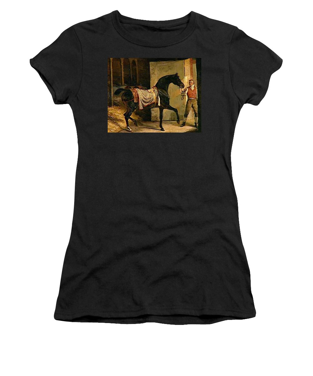 Horse Women's T-Shirt (Athletic Fit) featuring the painting Horse Leaving A Stable by Gericault Theodore