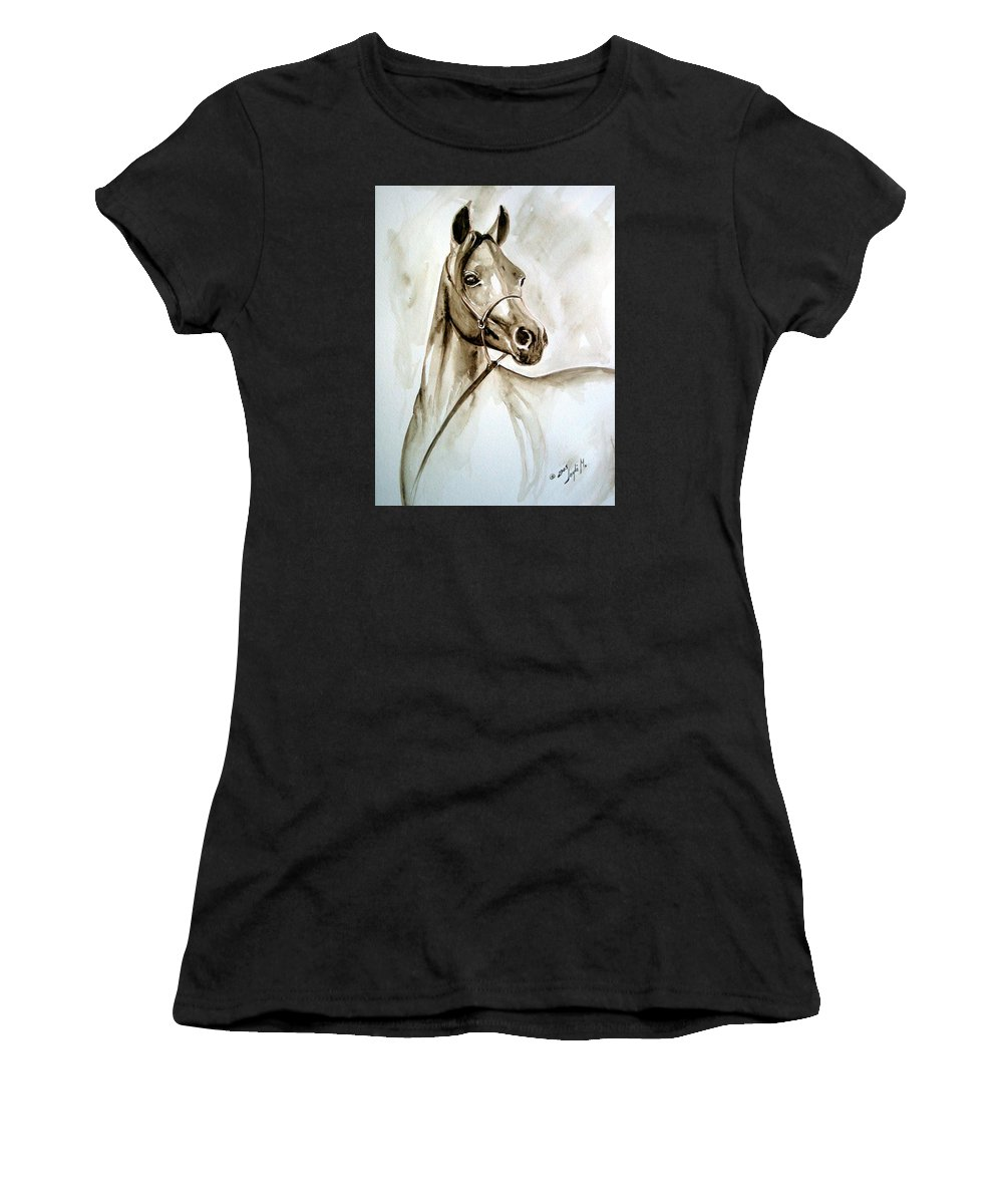 Portrait Of A Horse Women's T-Shirt (Athletic Fit) featuring the painting Horse by Leyla Munteanu