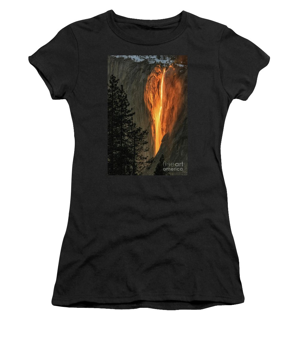 Horsetail Falls Women's T-Shirt (Athletic Fit) featuring the photograph Horsetail Falls In Yosemite National Park by Tibor Vari