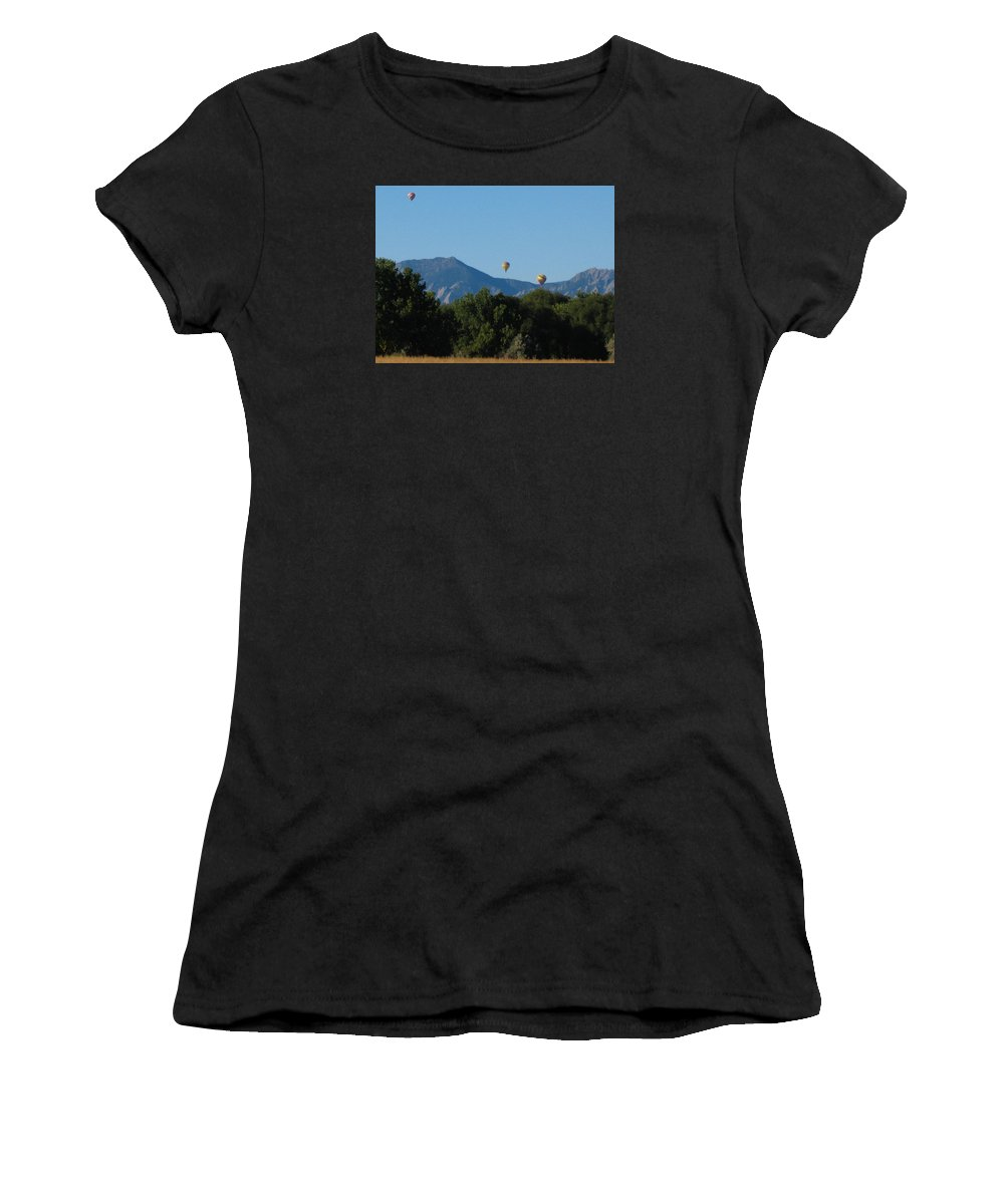 Hot Air Balloons Women's T-Shirt (Athletic Fit) featuring the photograph hot air balloons SCN M 23 by Sierra Dall