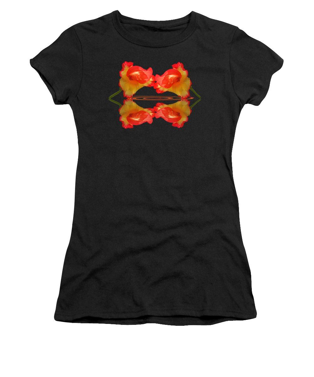 Red Flower Women's T-Shirt featuring the photograph Hot Lips by Gill Billington