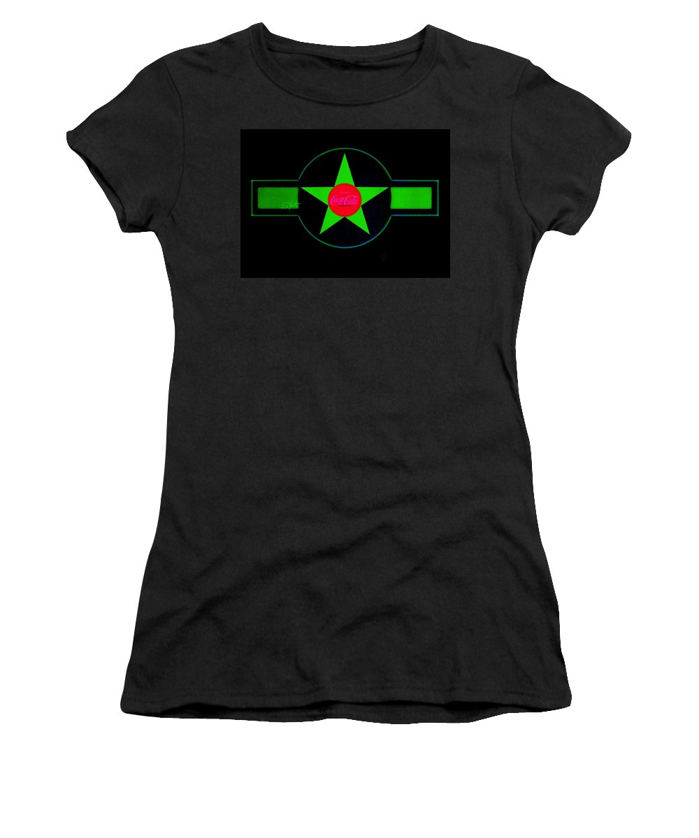 Label Women's T-Shirt (Athletic Fit) featuring the painting Hot Red On Cool Green by Charles Stuart