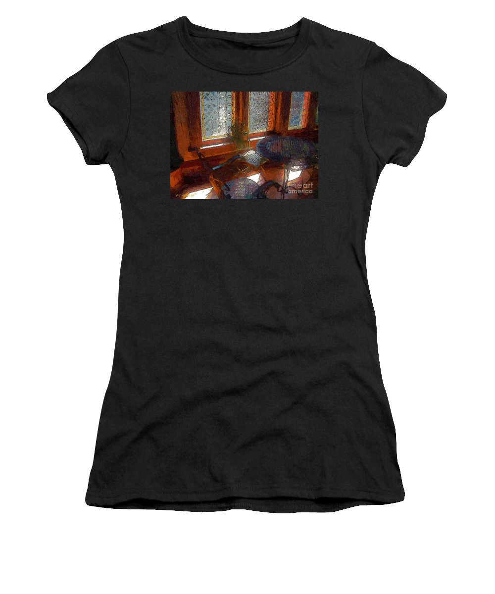Chairs Women's T-Shirt (Athletic Fit) featuring the painting Hot Sun On Wrought Iron by RC DeWinter