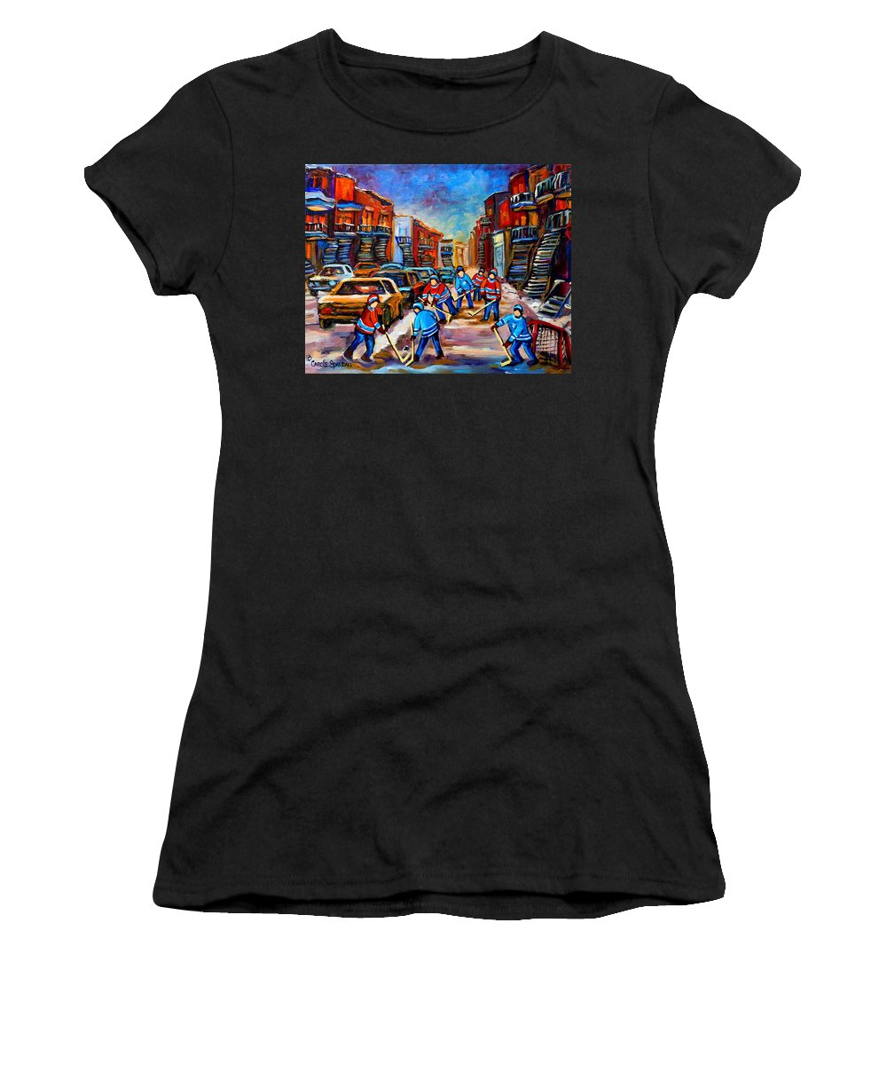 Montreal Women's T-Shirt (Athletic Fit) featuring the painting Hotel De Ville Montreal Hockey Street Scene by Carole Spandau