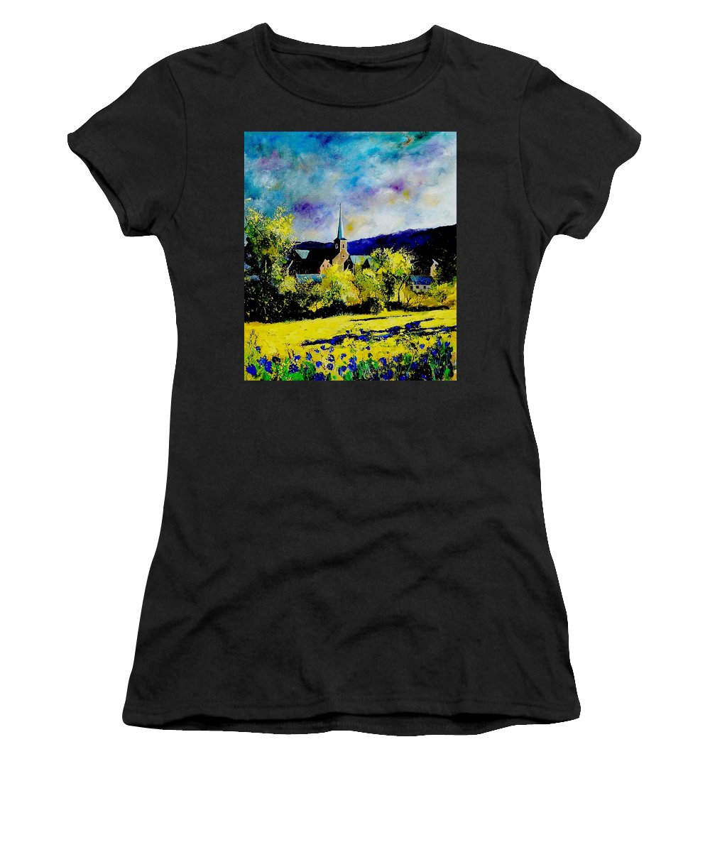 Poppies Women's T-Shirt featuring the painting Hour Village Belgium by Pol Ledent