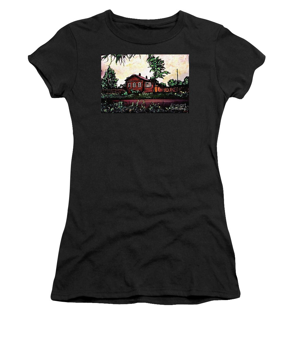 House Women's T-Shirt featuring the mixed media House In Sergiyev Posad  by Sarah Loft