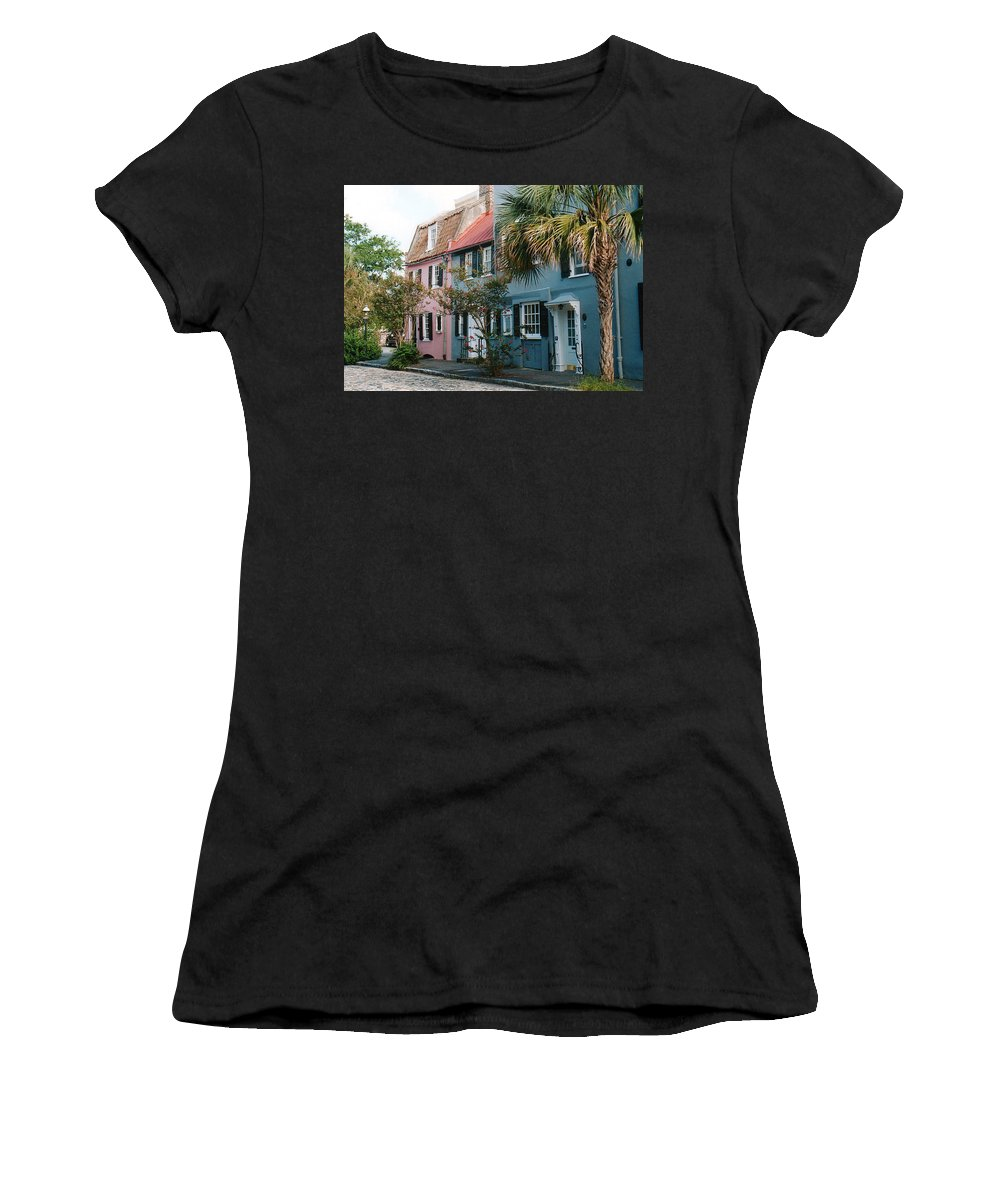 Photography Women's T-Shirt featuring the photograph Houses In Charleston Sc by Susanne Van Hulst