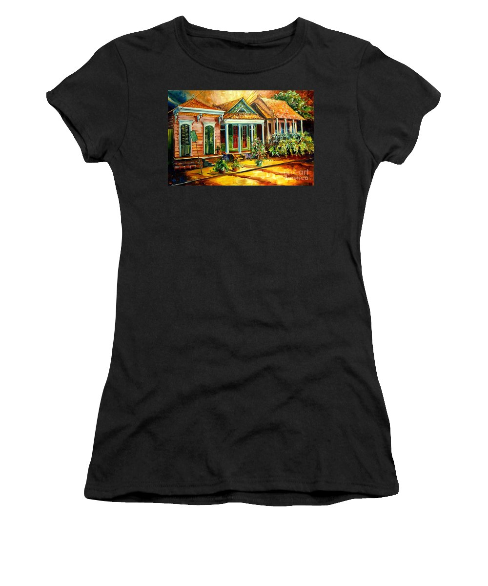 Faubourg Marigny Women's T-Shirt (Athletic Fit) featuring the painting Houses In The Marigny by Diane Millsap