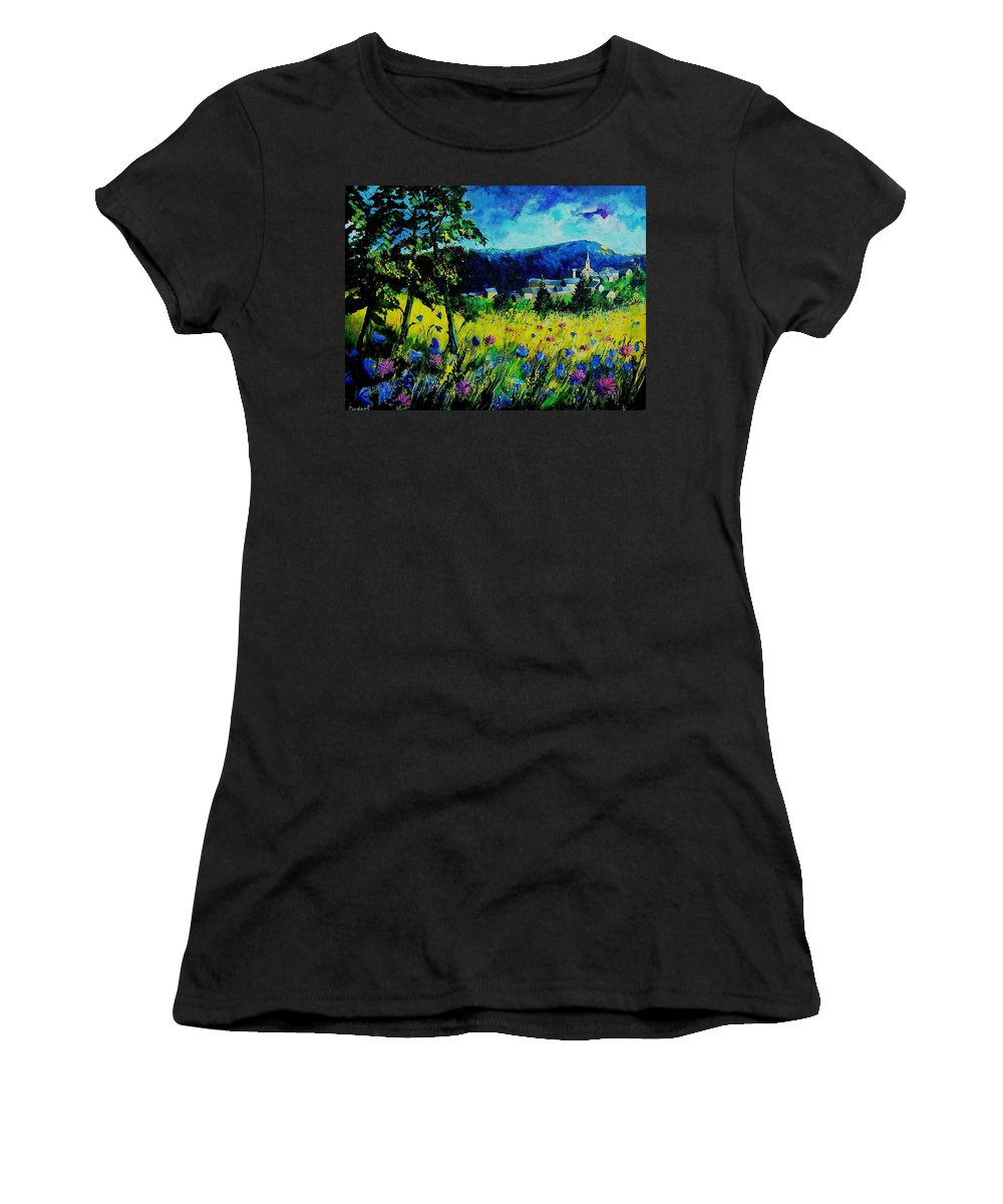Flowers Women's T-Shirt (Athletic Fit) featuring the painting Houyet 68 by Pol Ledent