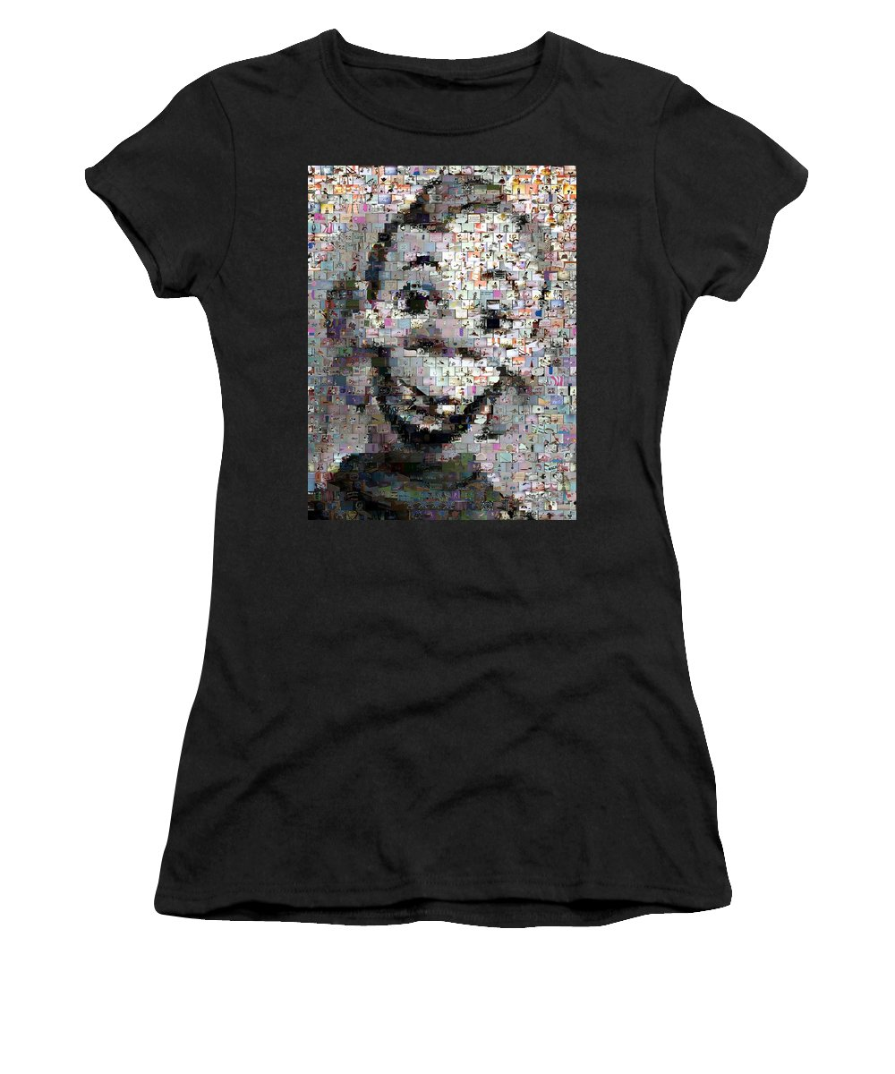 Howdy Doody Women's T-Shirt (Athletic Fit) featuring the photograph Howdy Doody Cartoon Mosaic by Paul Van Scott
