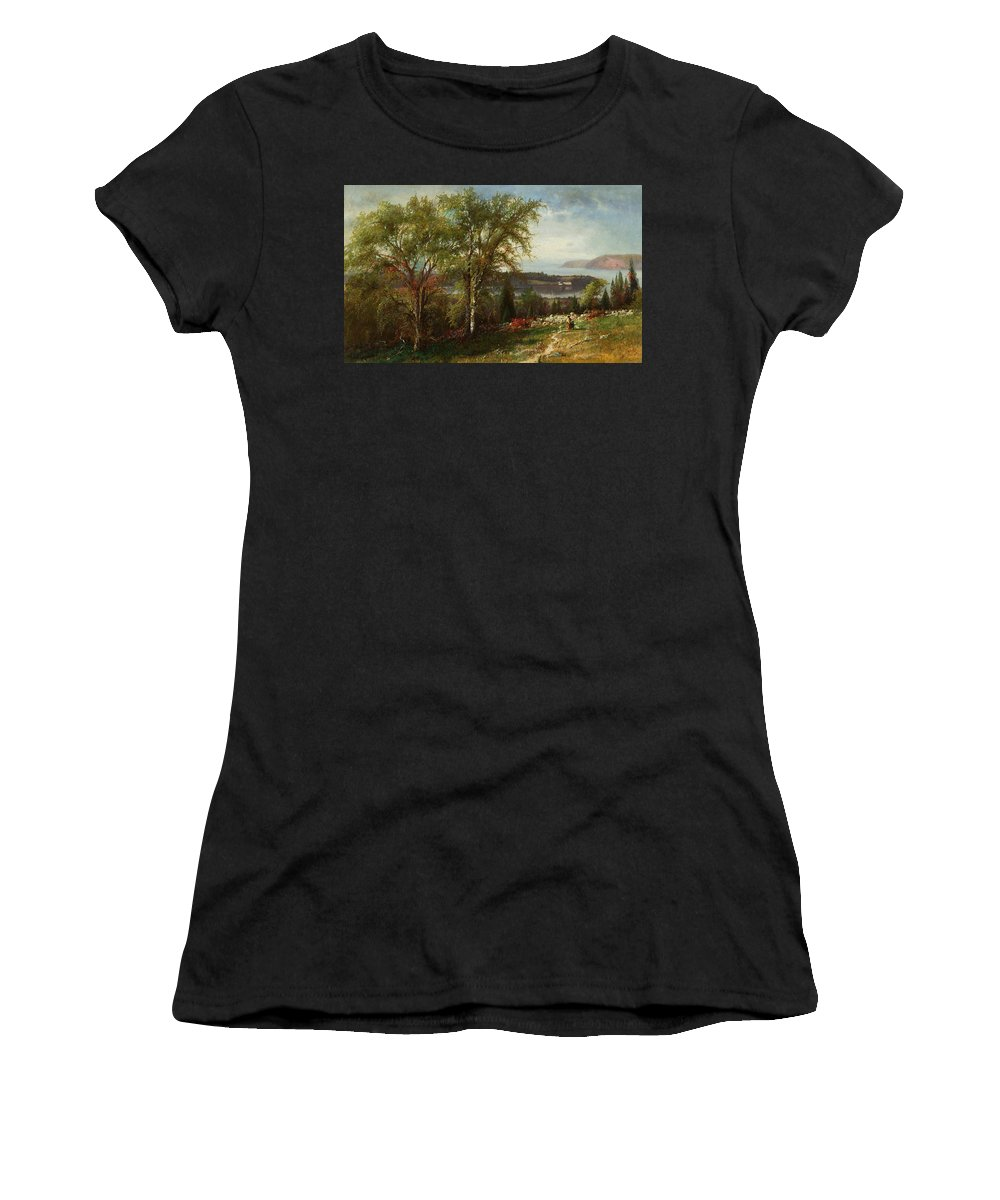 American Art Women's T-Shirt (Athletic Fit) featuring the painting Hudson River At Croton Point by Julie Beers