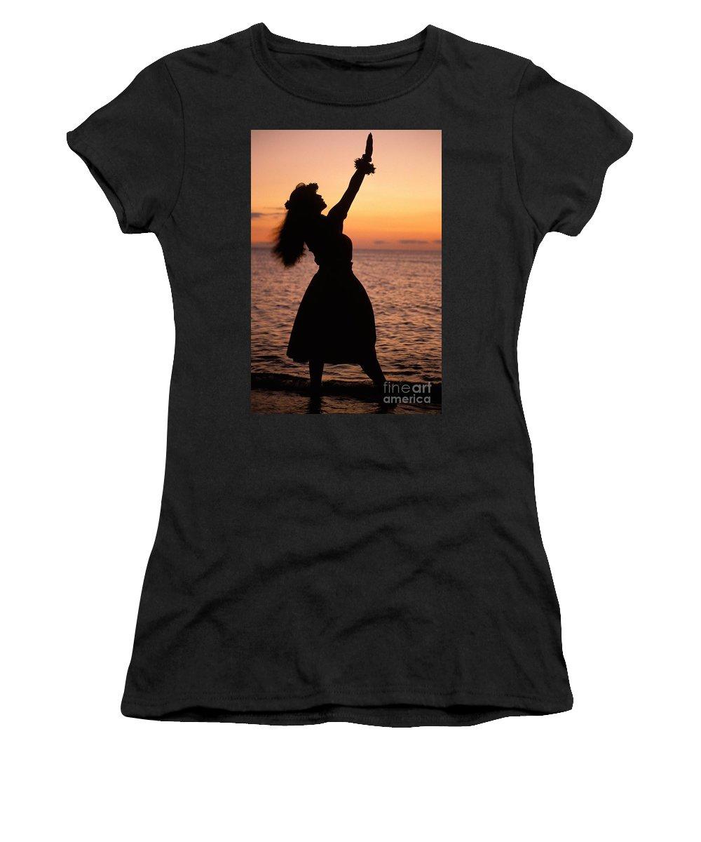 Allan Seiden Women's T-Shirt featuring the photograph Hula At Sunset by Allan Seiden - Printscapes