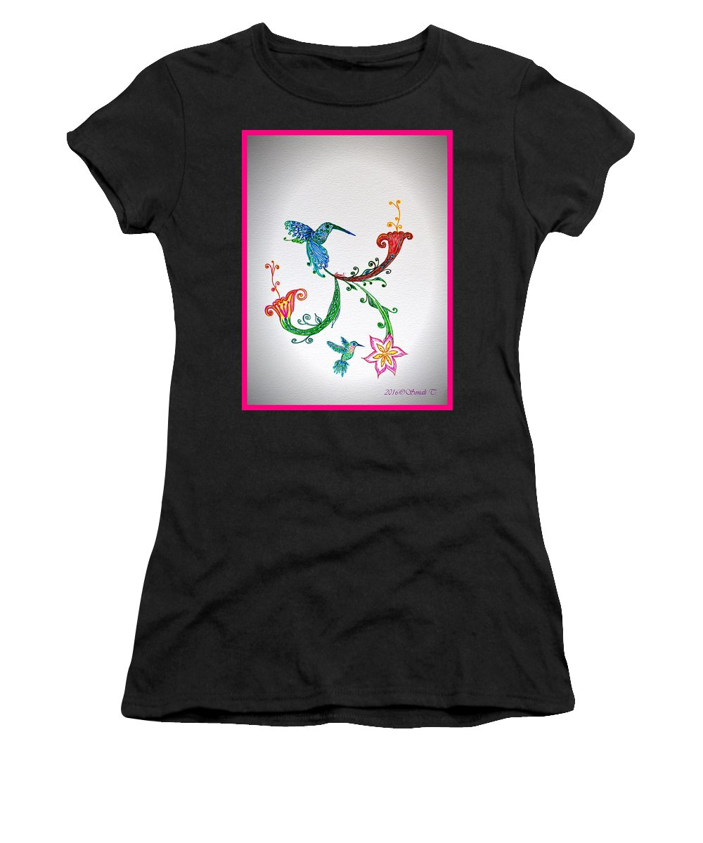 Drawing Women's T-Shirt (Athletic Fit) featuring the drawing Humming Holiday by Sonali Gangane
