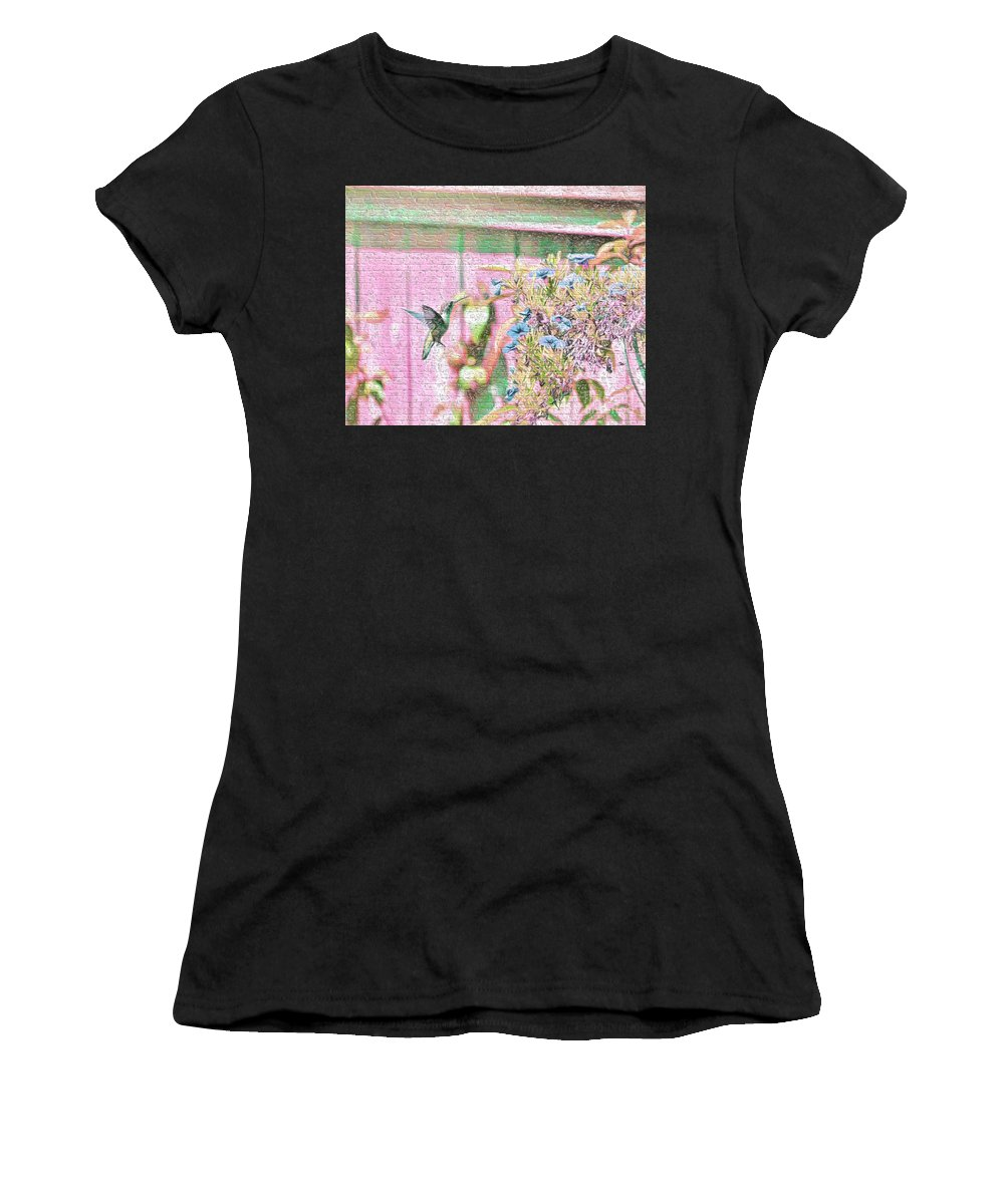 Hummingbird Women's T-Shirt featuring the photograph Hummingbird In The Garden by Kerri Farley