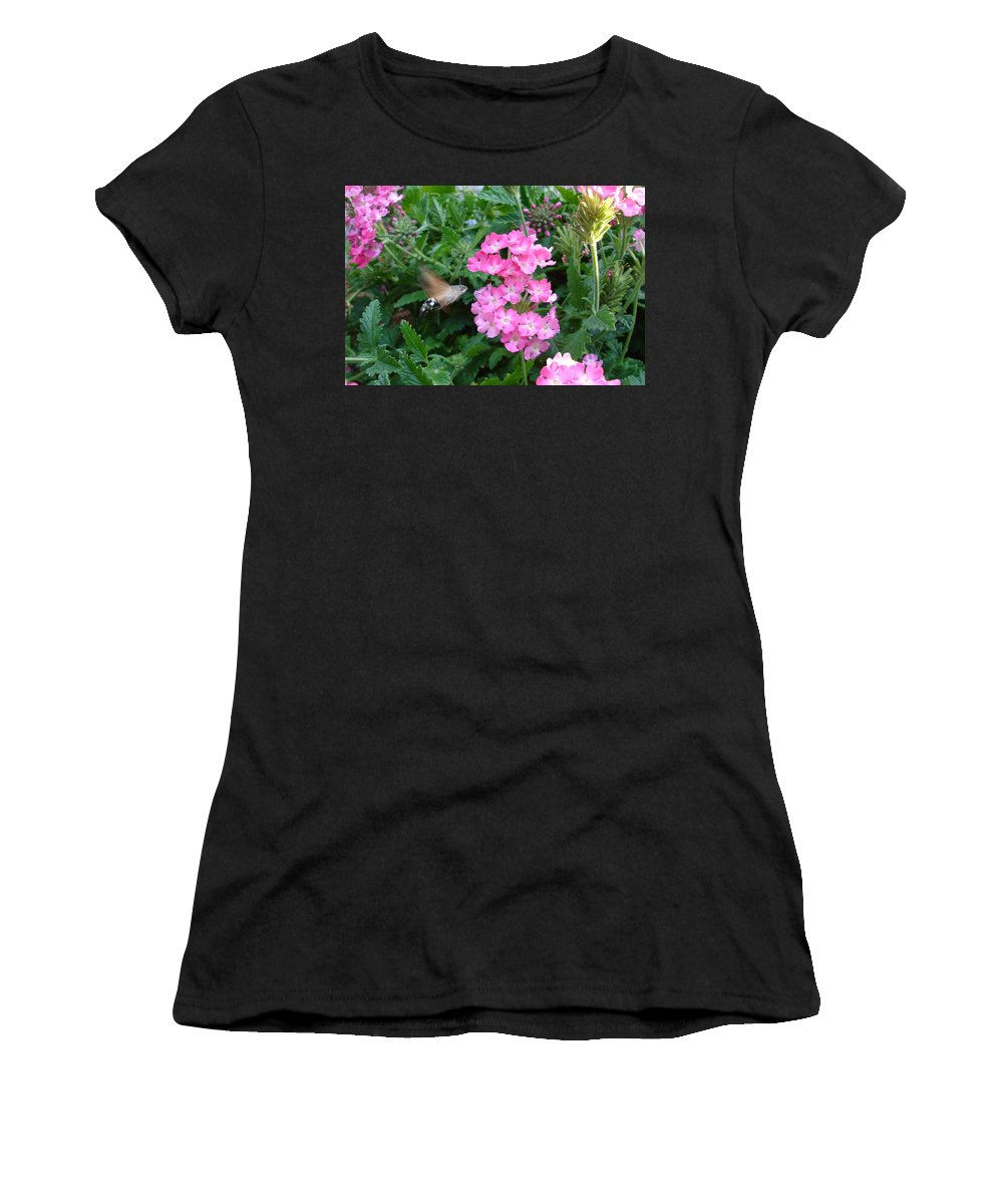 Flower Women's T-Shirt (Athletic Fit) featuring the photograph Hummingbird Moth On Pink Verbena by Susan Baker