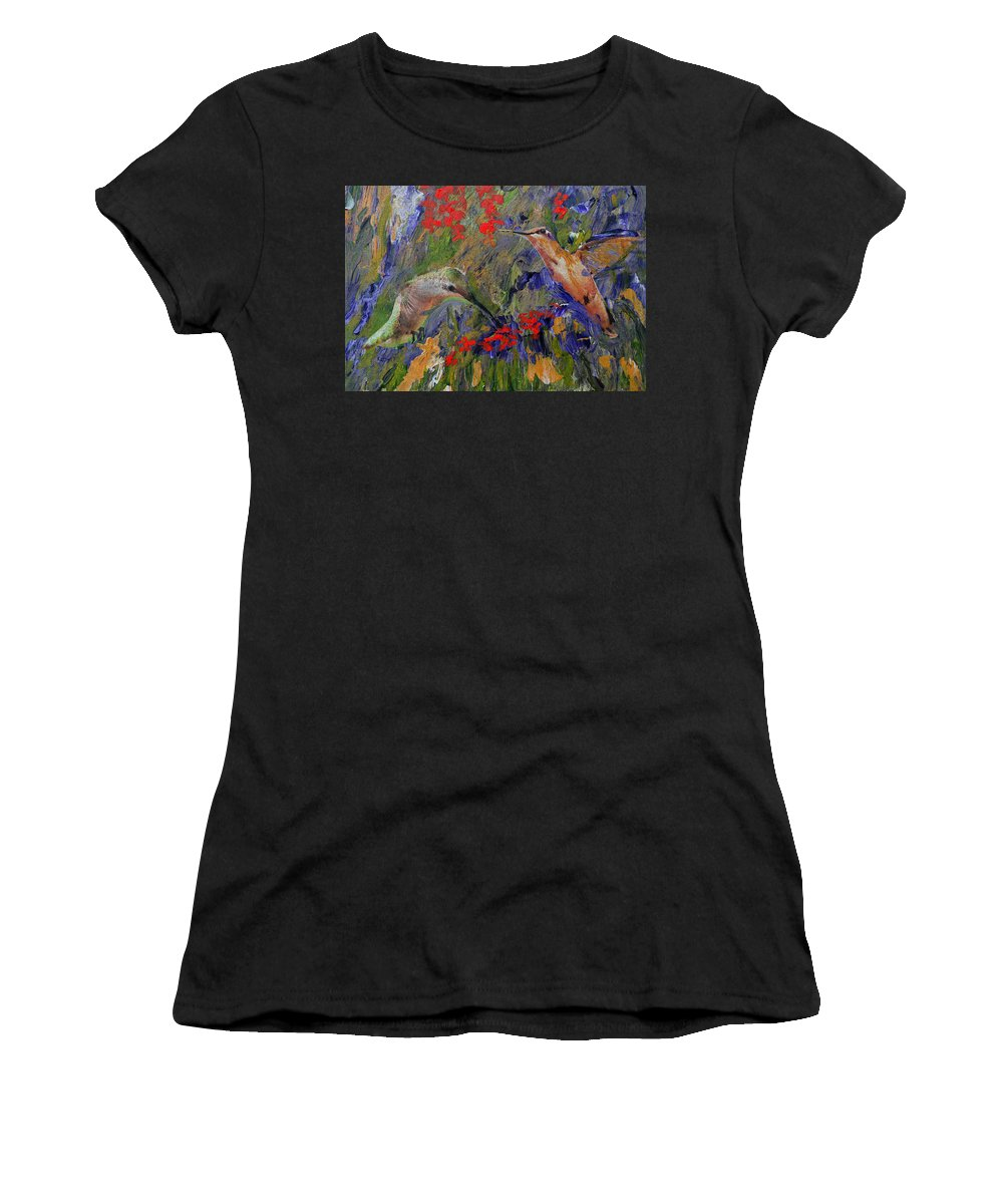 Humming Birds Women's T-Shirt (Athletic Fit) featuring the digital art Hummingbirds 2, Abstract Art by Kathy Symonds
