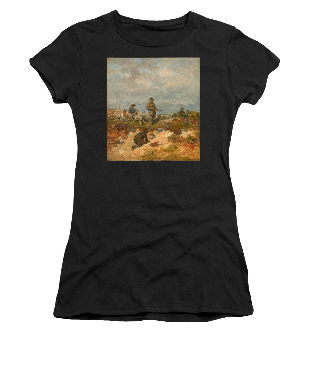 Anton Burger Women's T-Shirt (Athletic Fit) featuring the painting Hunters By A Fox-hole by Anton Burger