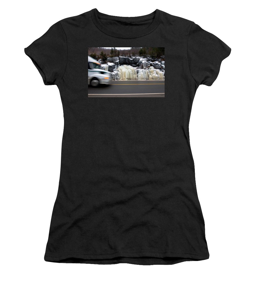 Hwy Women's T-Shirt (Athletic Fit) featuring the photograph Hwy Ice  by Doug Gibbons